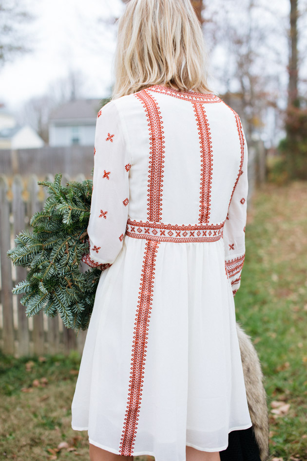Instead of going the glitzy glam route this year, I decided to take a more romantic turn, with a boho dress, fancy sweater & over-the-knee boots.