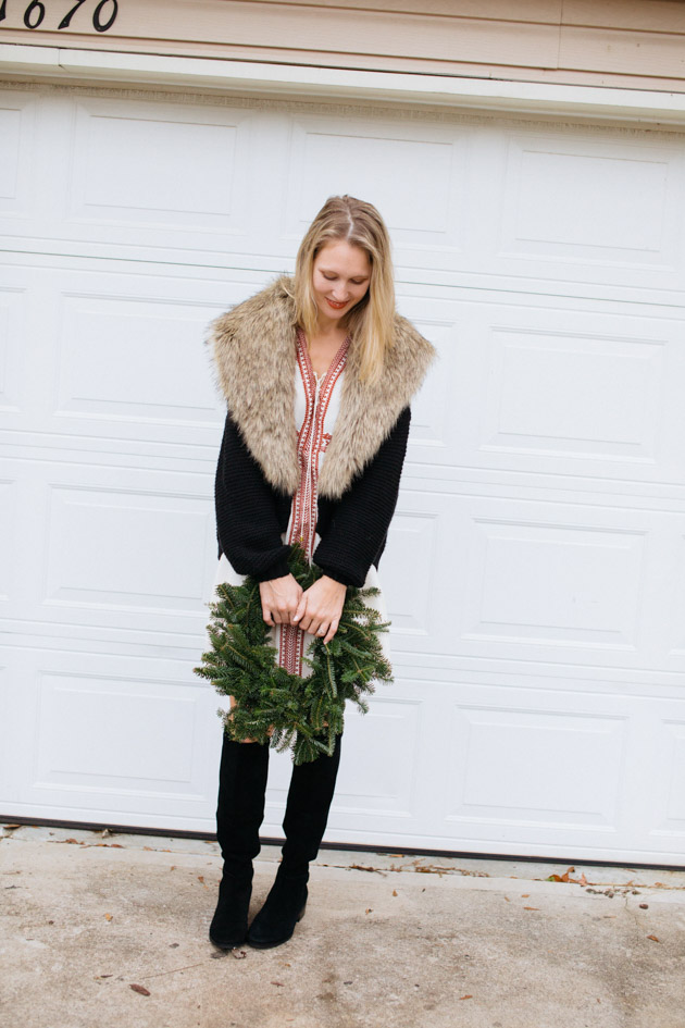 boho-dress-for-christmas | Instead of going the glitzy glam route this year, I decided to take a more romantic turn, with a boho dress, fancy sweater & over-the-knee boots.