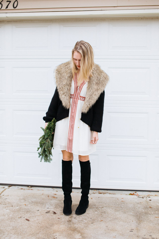 boho-dress-with-tall-boots | Instead of going the glitzy glam route this year, I decided to take a more romantic turn, with a boho dress, fancy sweater & over-the-knee boots.