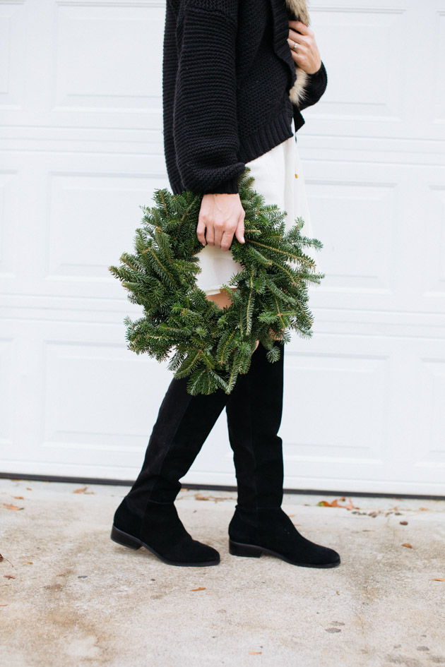 simple-christmas-outfit-idea | Instead of going the glitzy glam route this year, I decided to take a more romantic turn, with a boho dress, fancy sweater & over-the-knee boots.