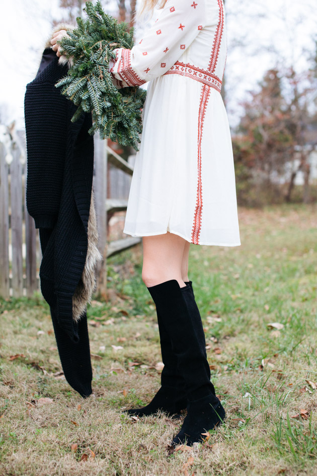 cool-winter-outfit-ideas | Instead of going the glitzy glam route this year, I decided to take a more romantic turn, with a boho dress, fancy sweater & over-the-knee boots.