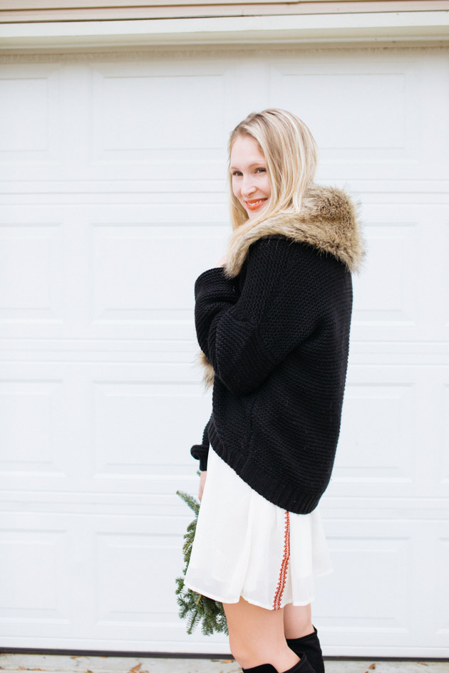 fur-trimmed-sweater-cardigan | Instead of going the glitzy glam route this year, I decided to take a more romantic turn, with a boho dress, fancy sweater & over-the-knee boots.