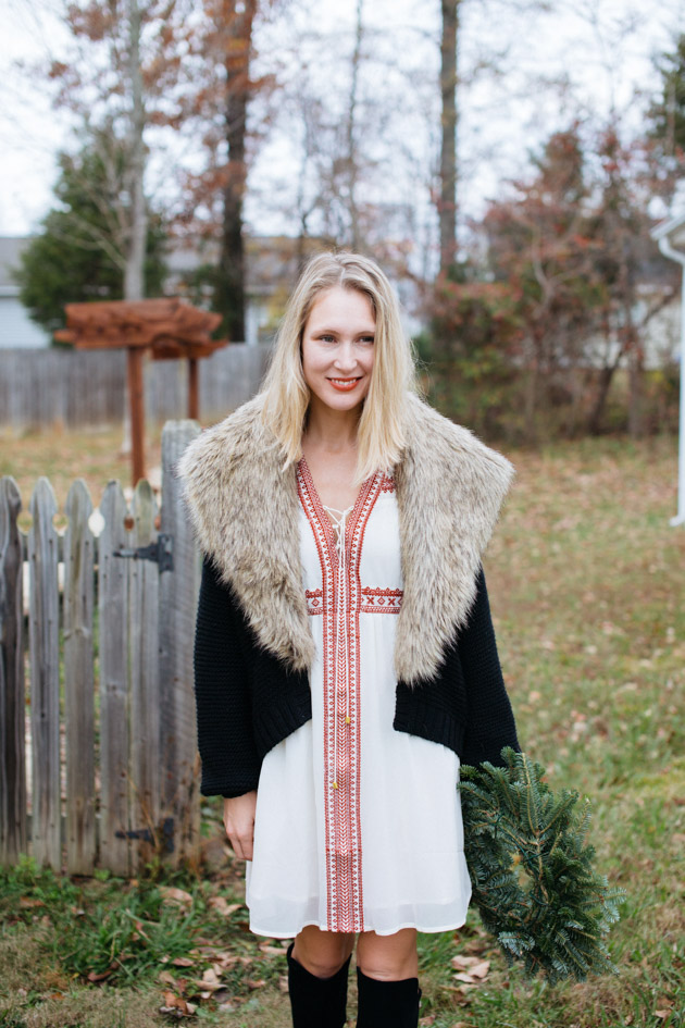 how-to-wear-dress-winter | Instead of going the glitzy glam route this year, I decided to take a more romantic turn, with a boho dress, fancy sweater & over-the-knee boots.