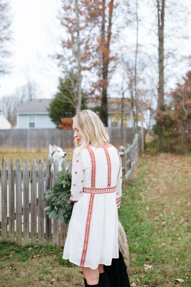 pretty-feminine-outfits-for-fall-winter | Instead of going the glitzy glam route this year, I decided to take a more romantic turn, with a boho dress, fancy sweater & over-the-knee boots.