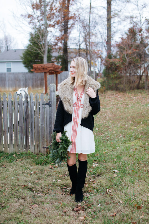 winterize-a-boho-dress | Instead of going the glitzy glam route this year, I decided to take a more romantic turn, with a boho dress, fancy sweater & over-the-knee boots.