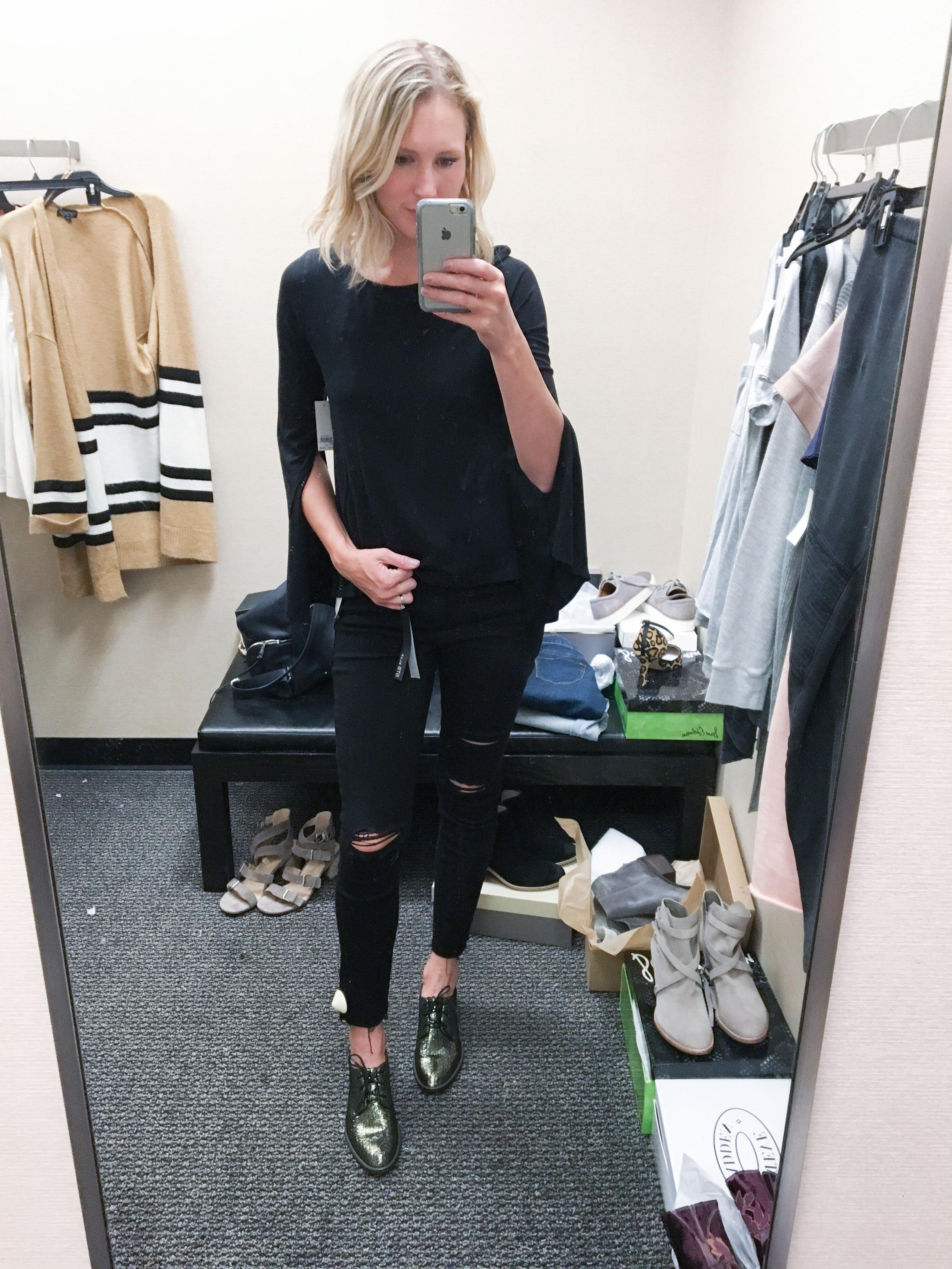 bell sleeve black top black jeans