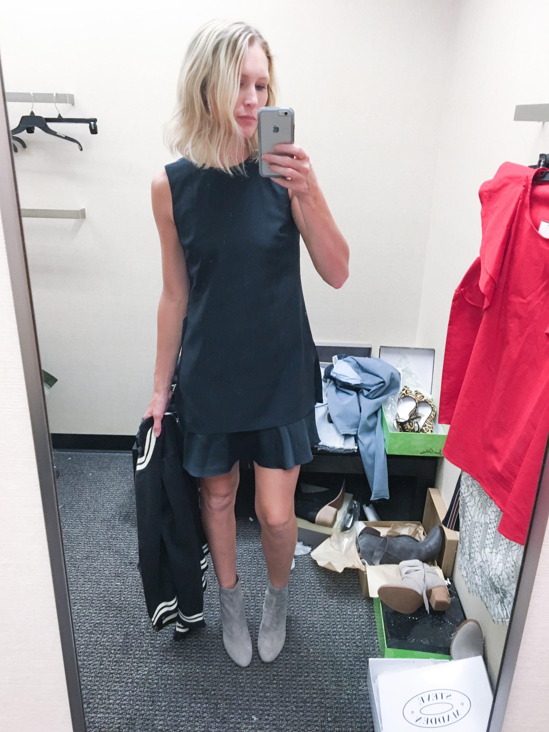 ruffled shift dress