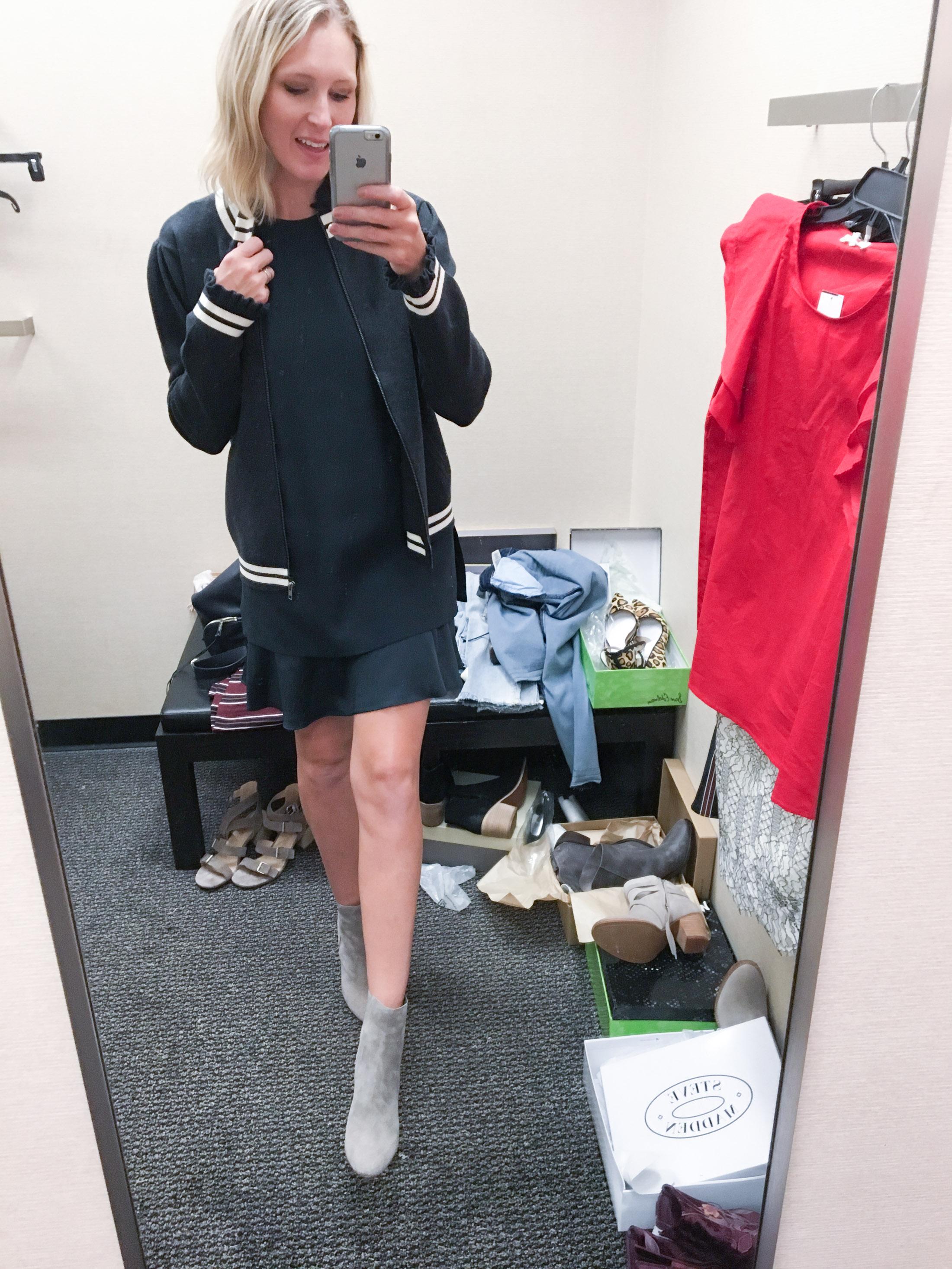 shift dress with varsity cardigan (1 of 1)