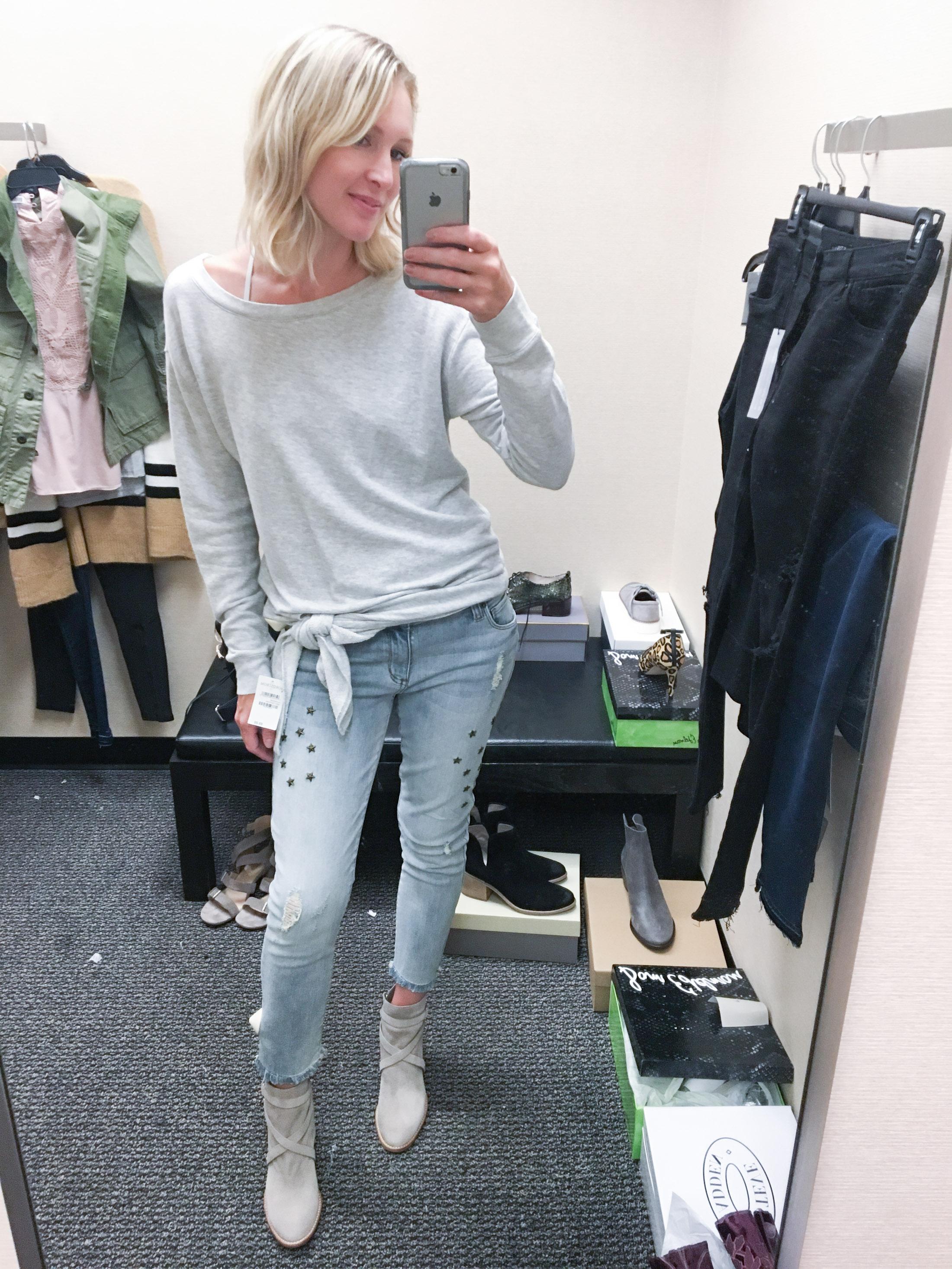 side tie sweatshirt light denim booties (1 of 1)