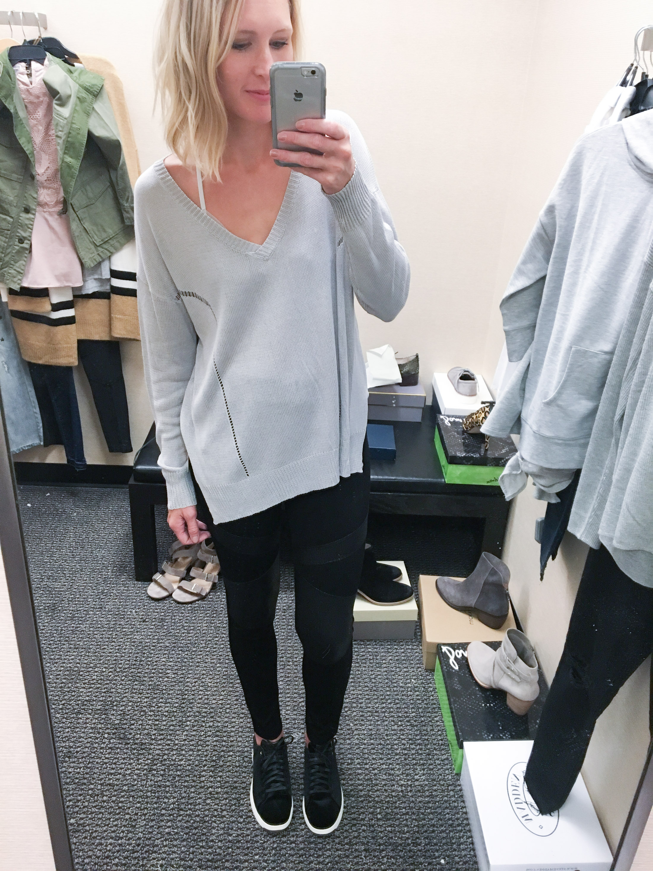 slouchy grey sweater with leggings