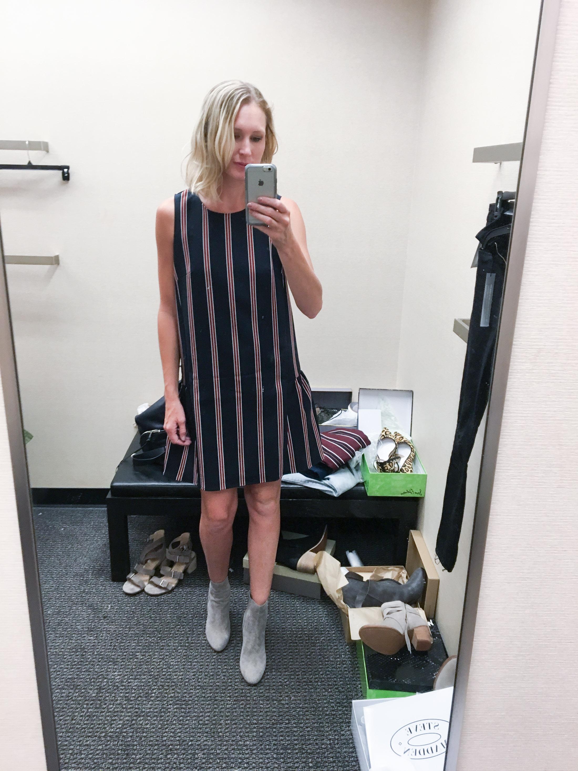 striped ruffled shift dress