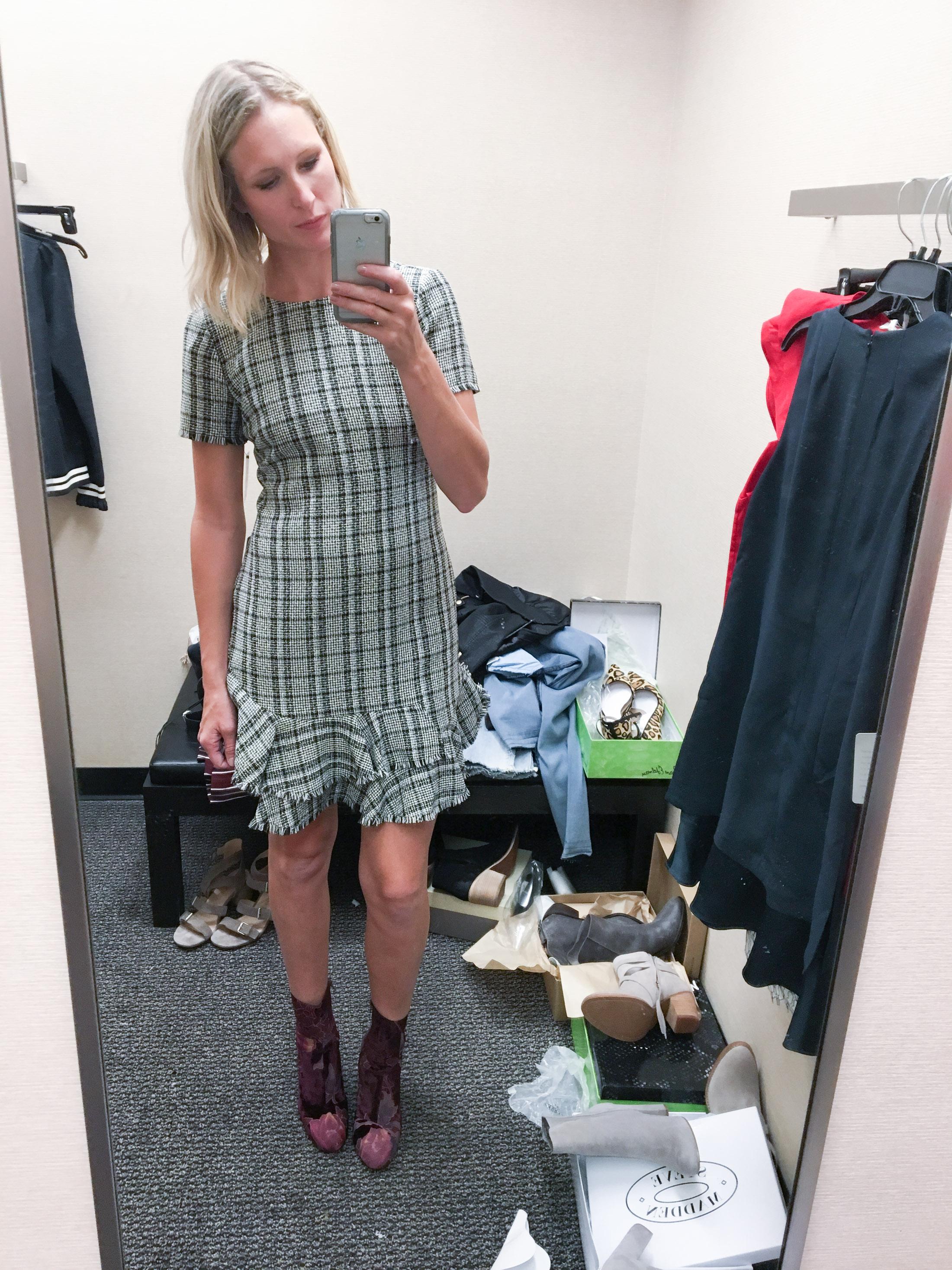 tweed ruffle dress