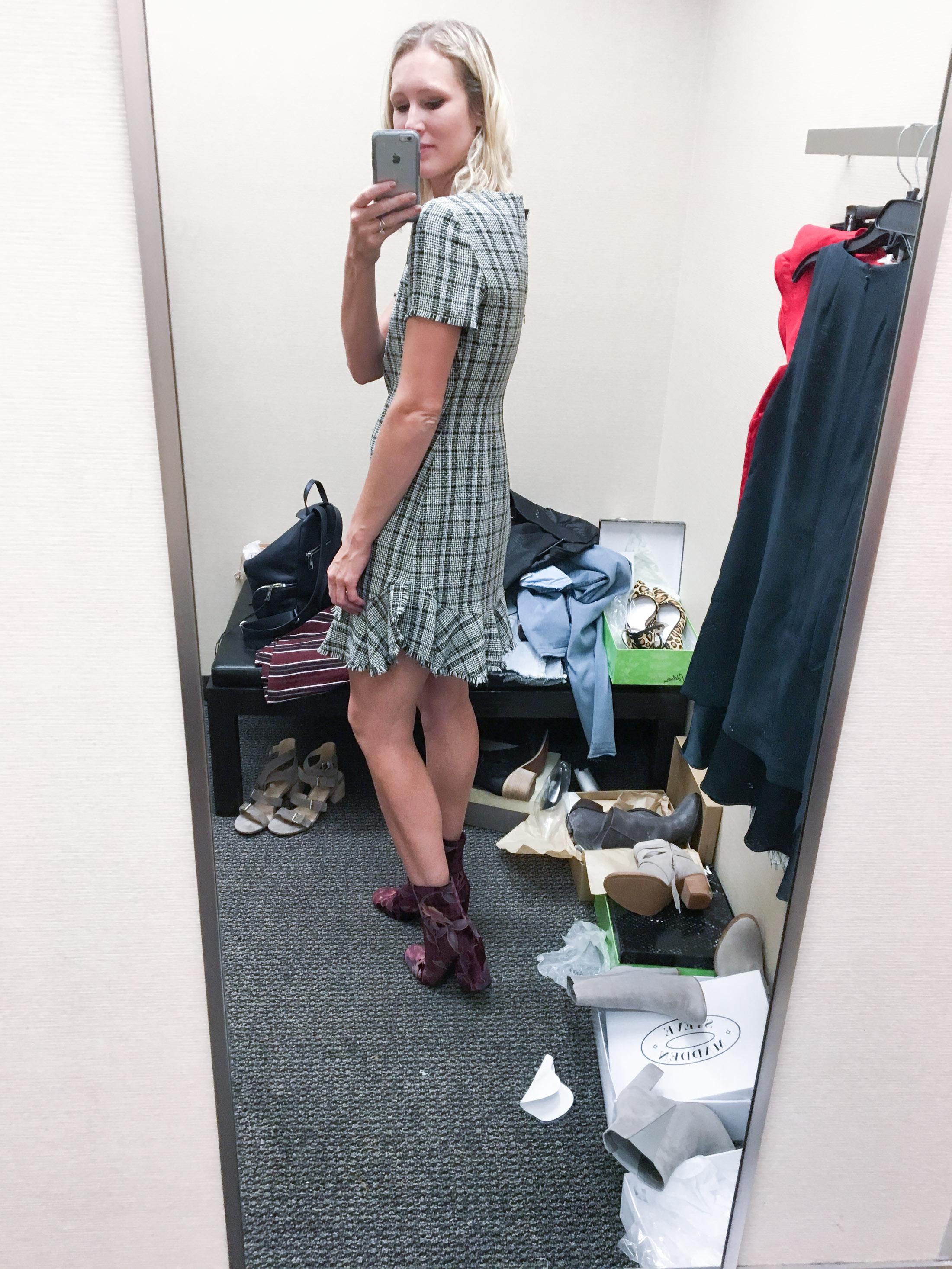 tweed ruffle dress with brocade booties (1 of 1)