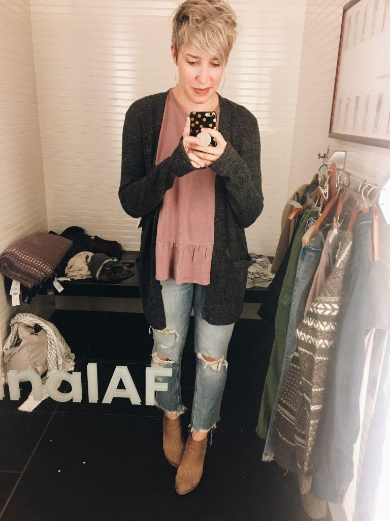 long cardigan vintage jeans pink top