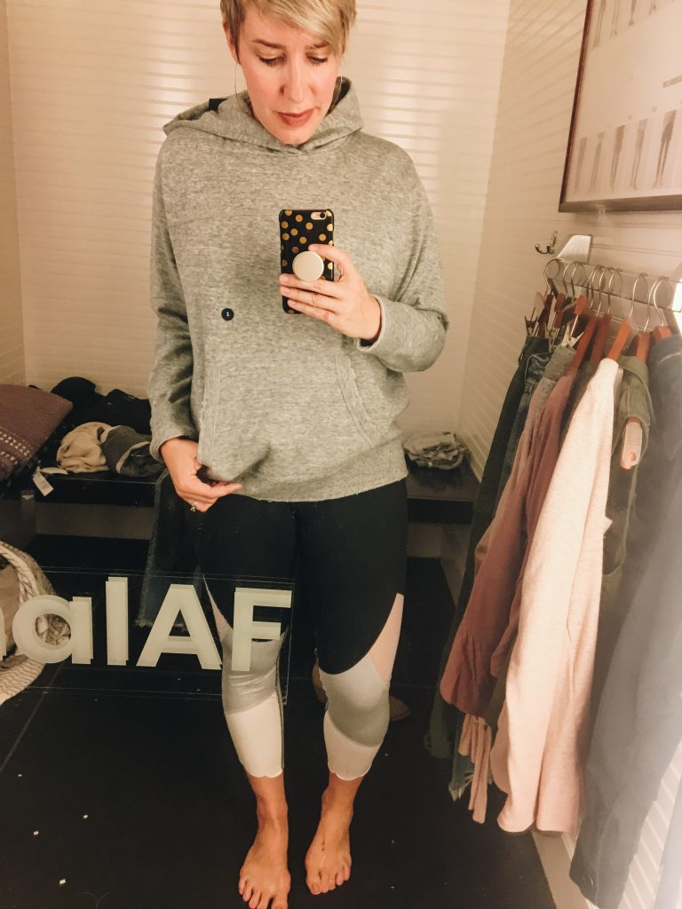 worn sweatshirt colorblock leggings