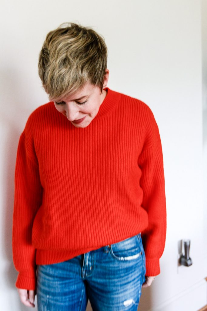 bright red sweater