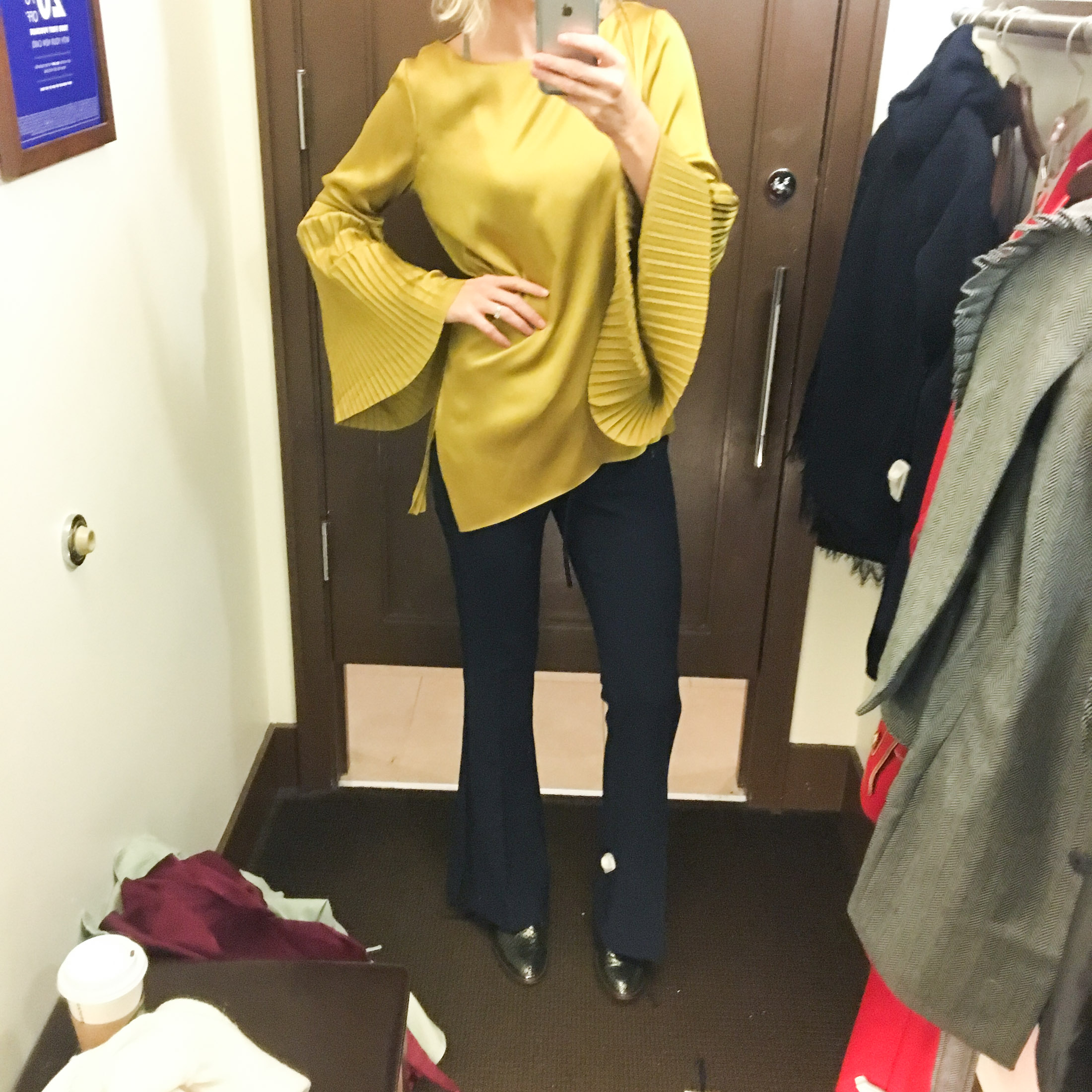 gold lichen pleated bell sleeve top