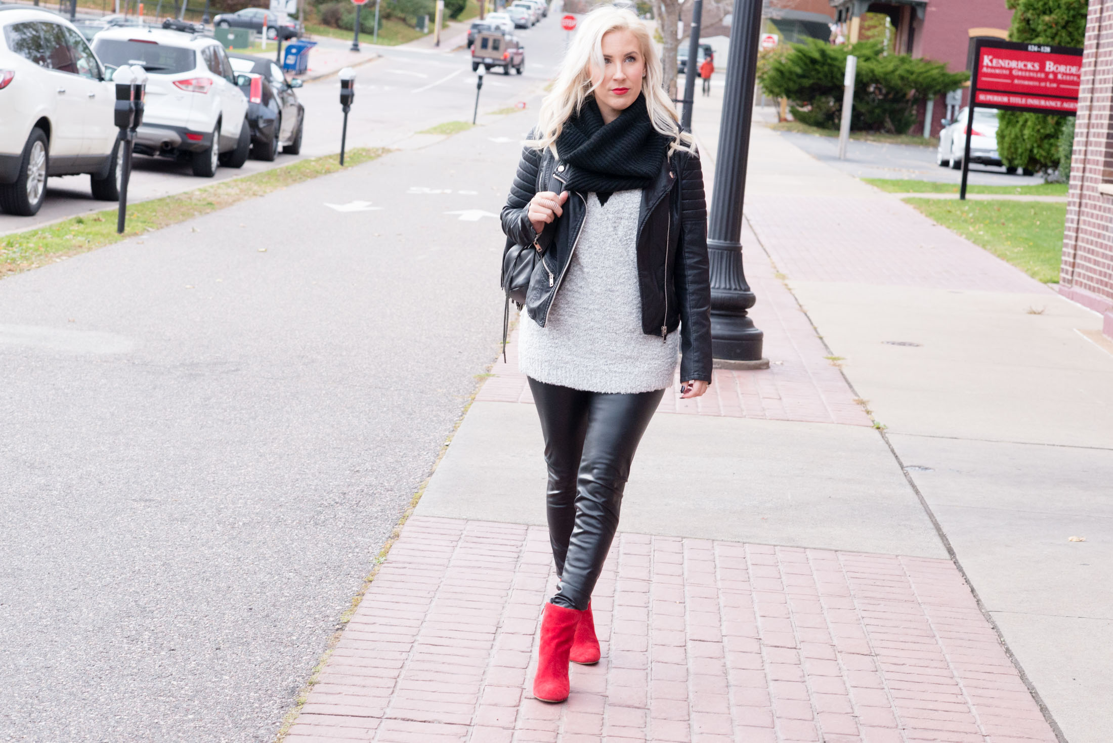red ankle boots women