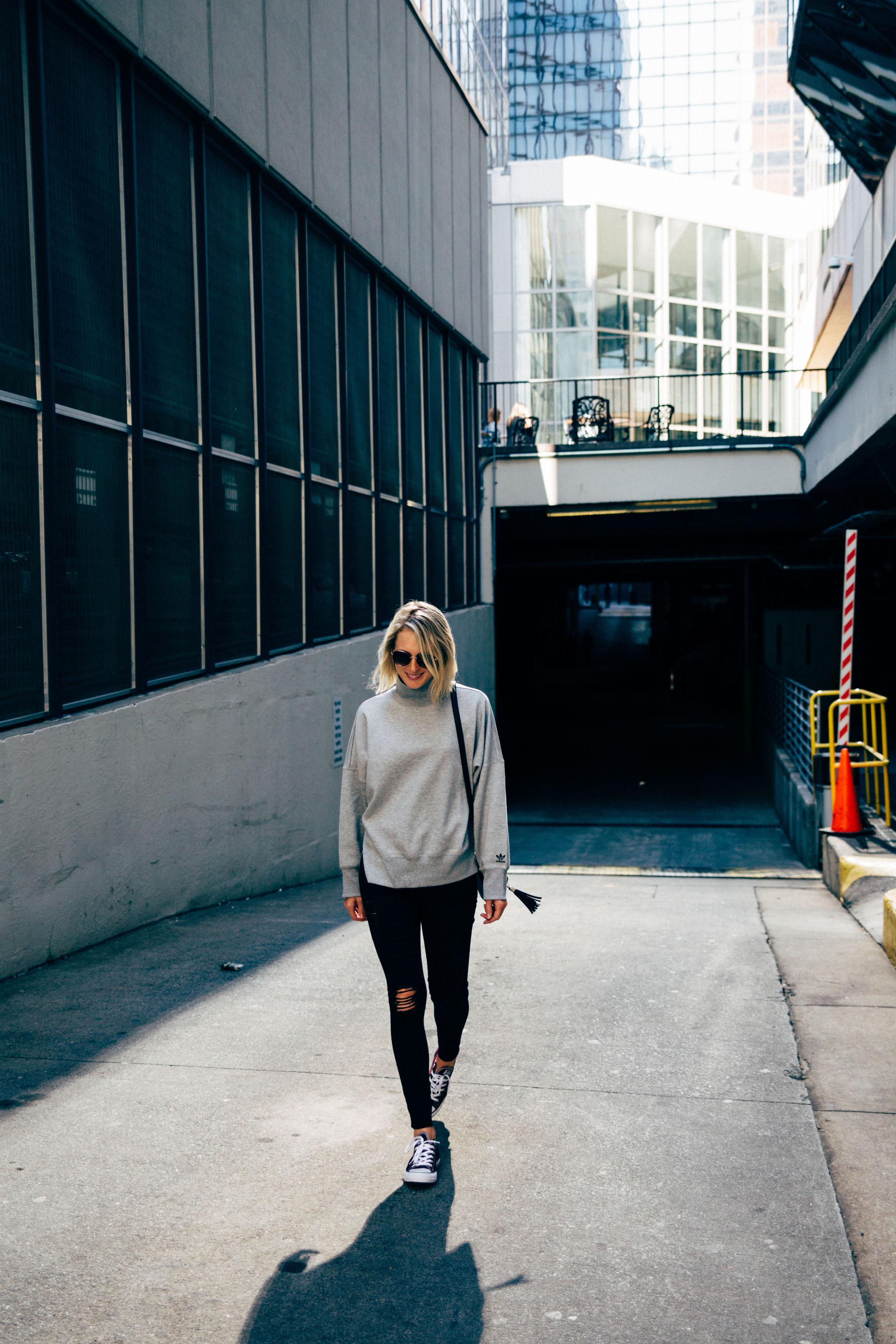 sweatshirt and black jeans