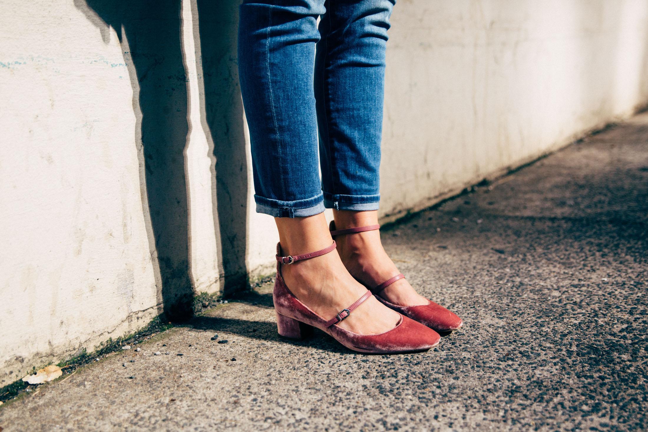 velvet low heel shoes