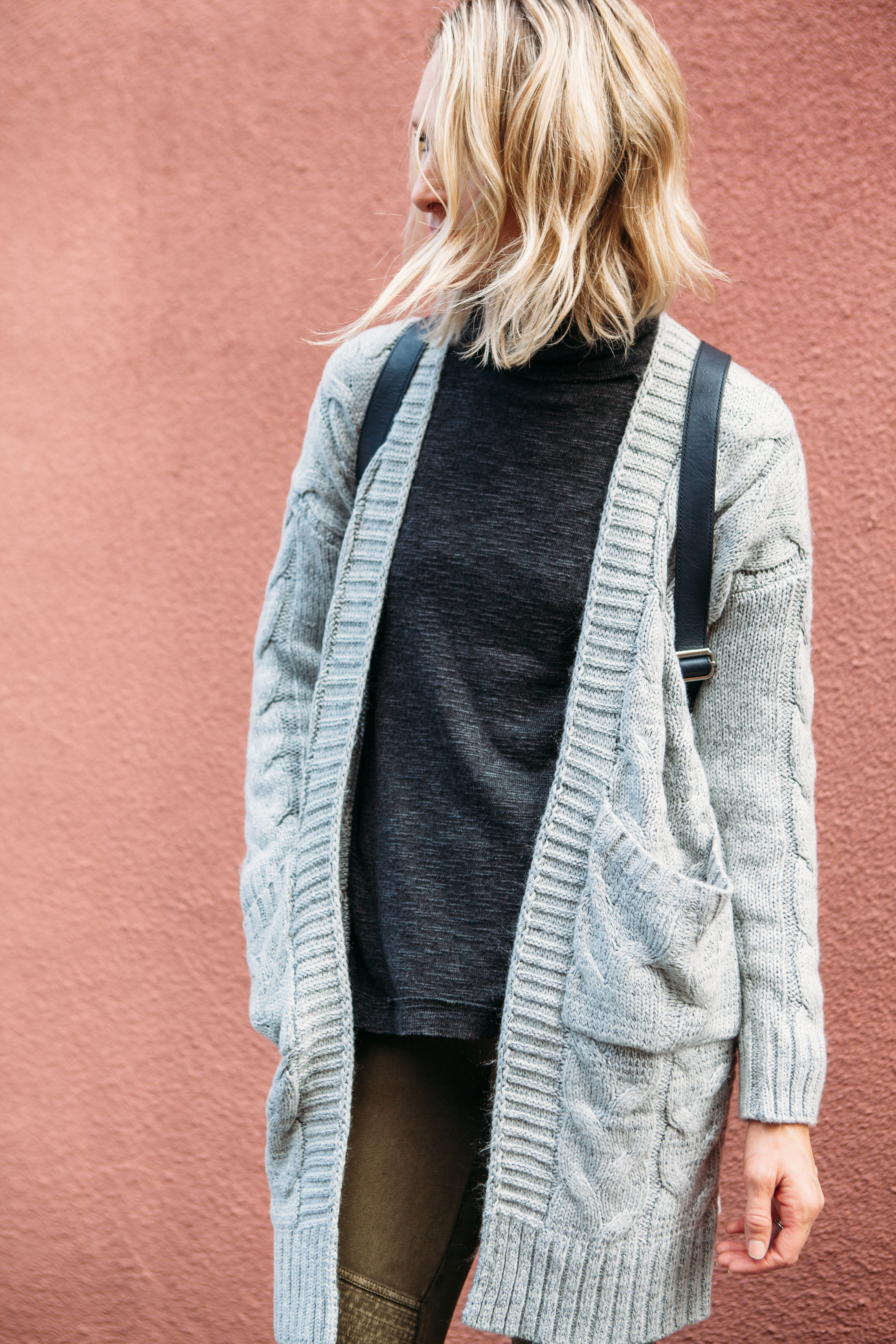 chunky light grey cardigan