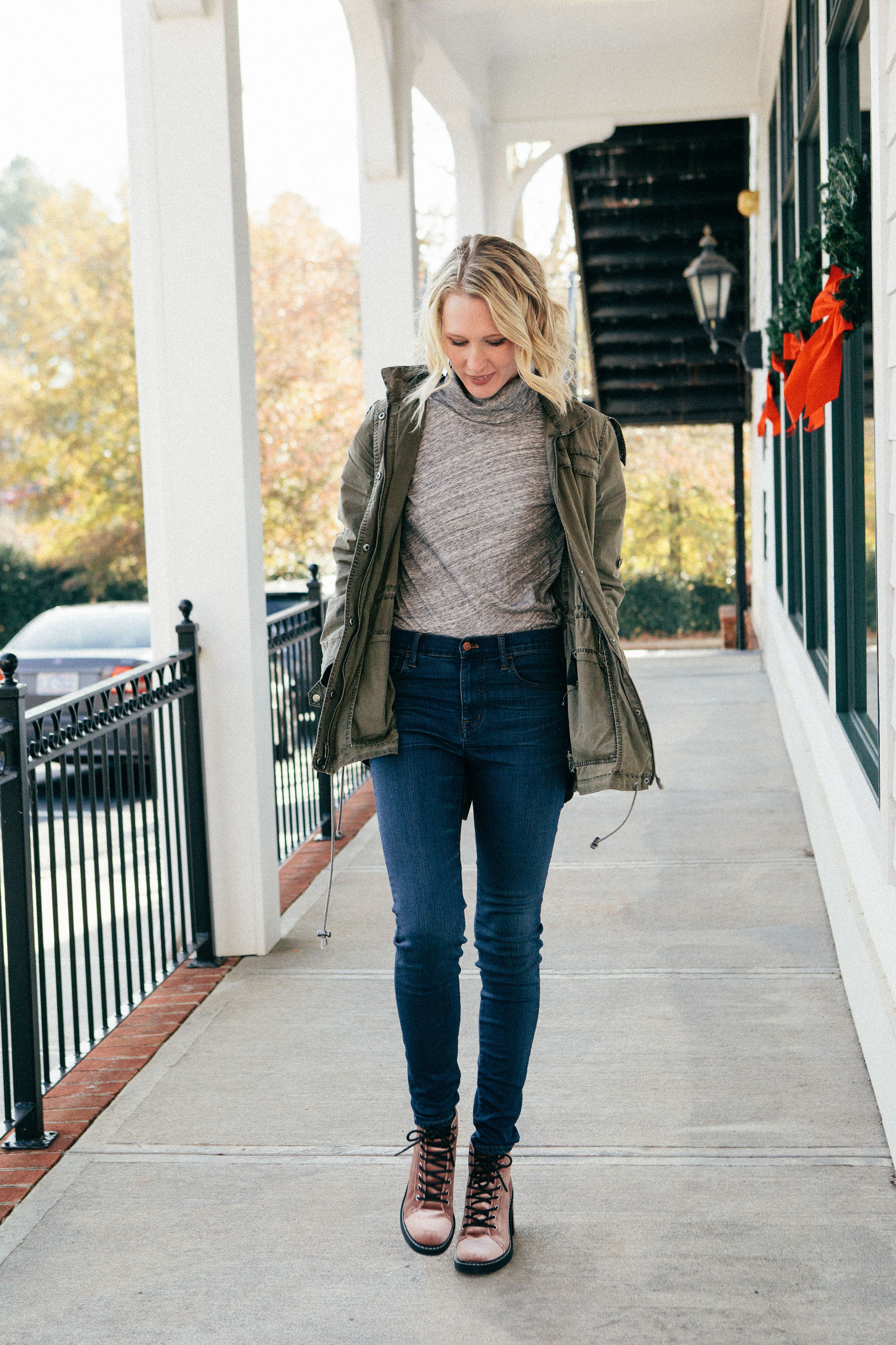 grey turtleneck high waist jeans