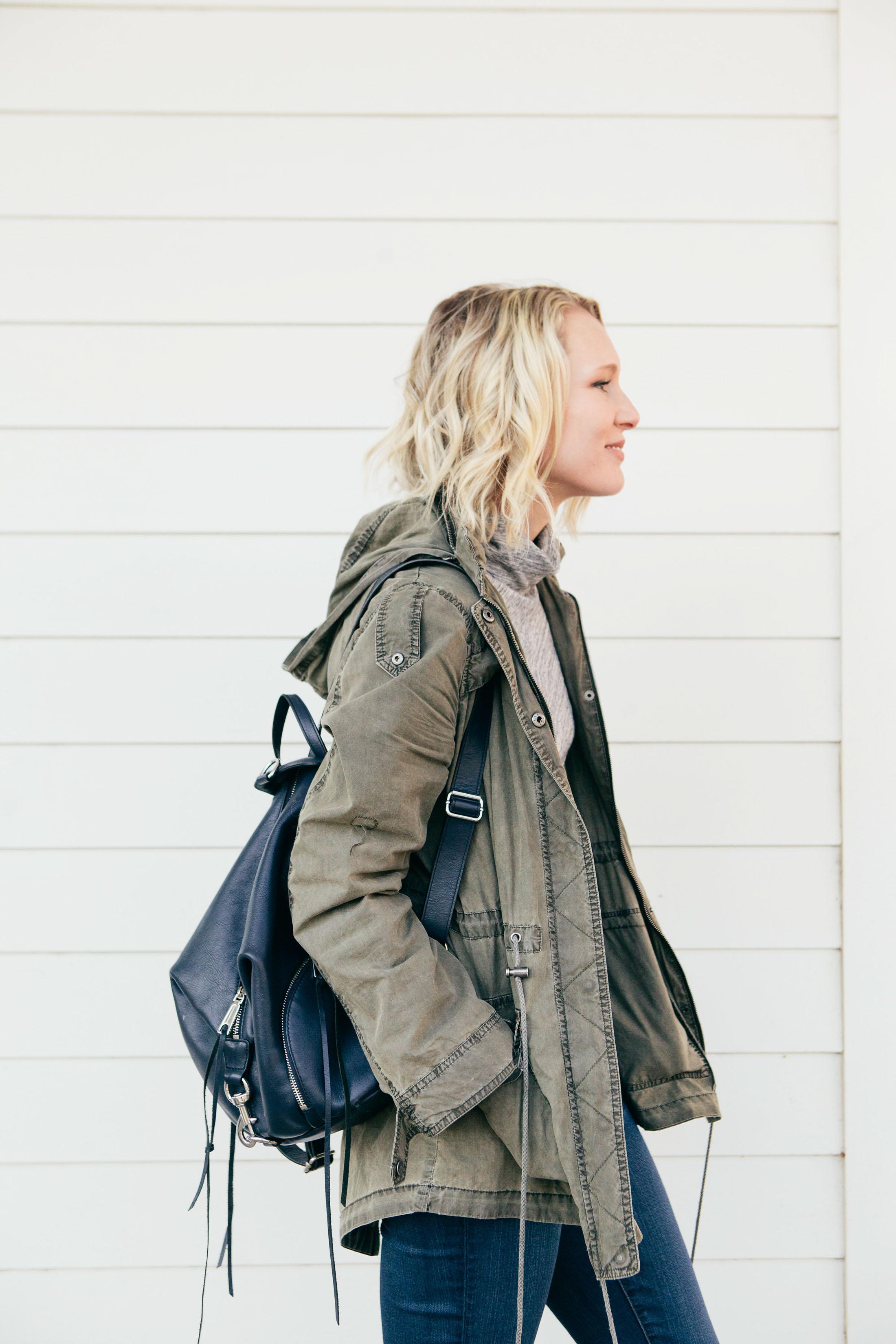 navy blue backpack oliver green jacket