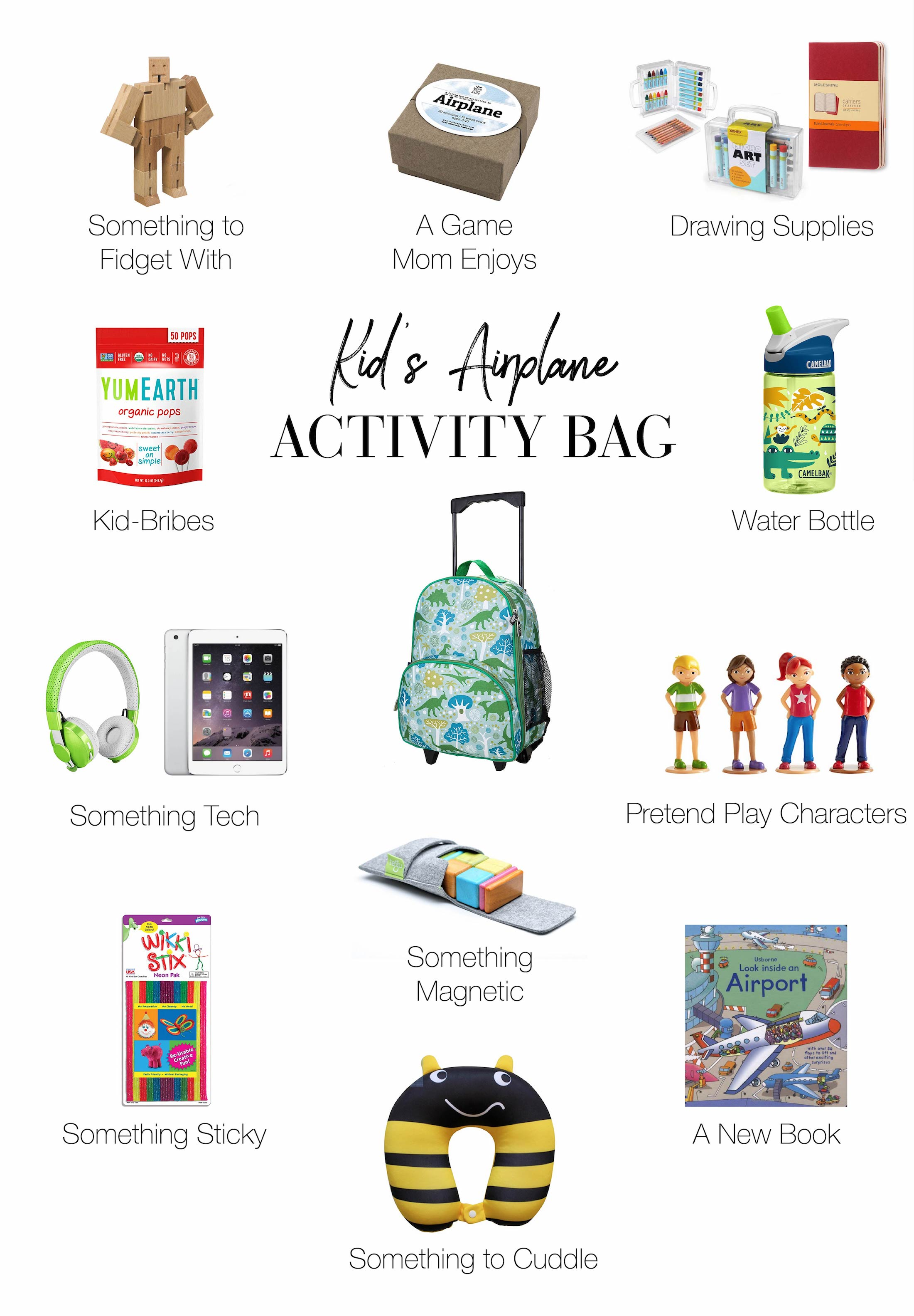 Magnetic, pretend play & tech toys — so many fun things to pack for kids in their travel bags. If you're flying with kiddos soon, here's your packing list.