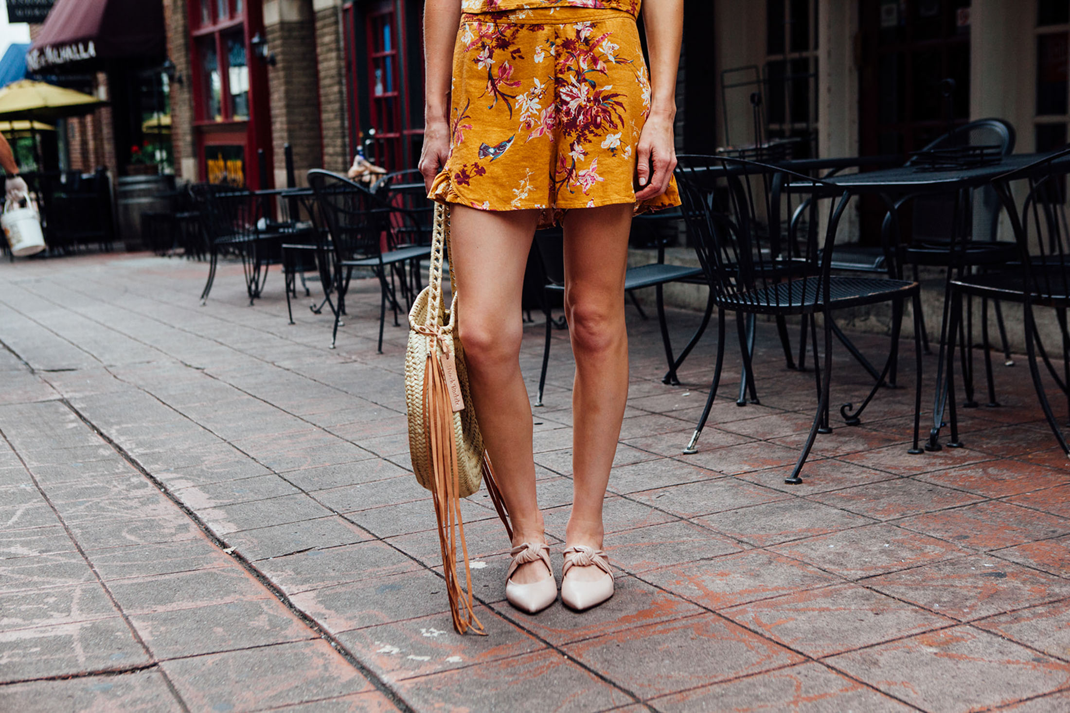 floral-yellow-linen-shorts
