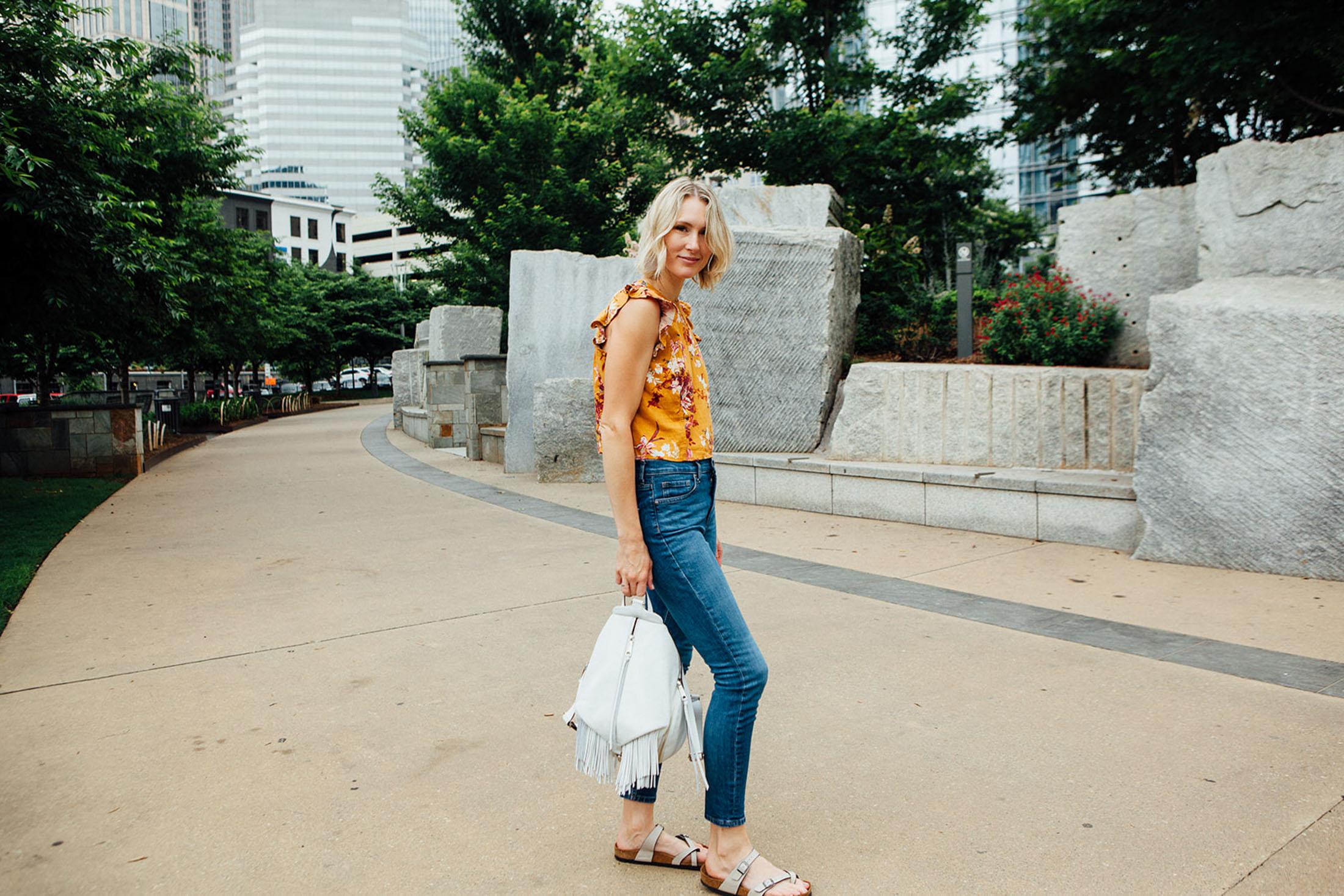 yellow-crop-top-high-waist-jeans-birkenstocks