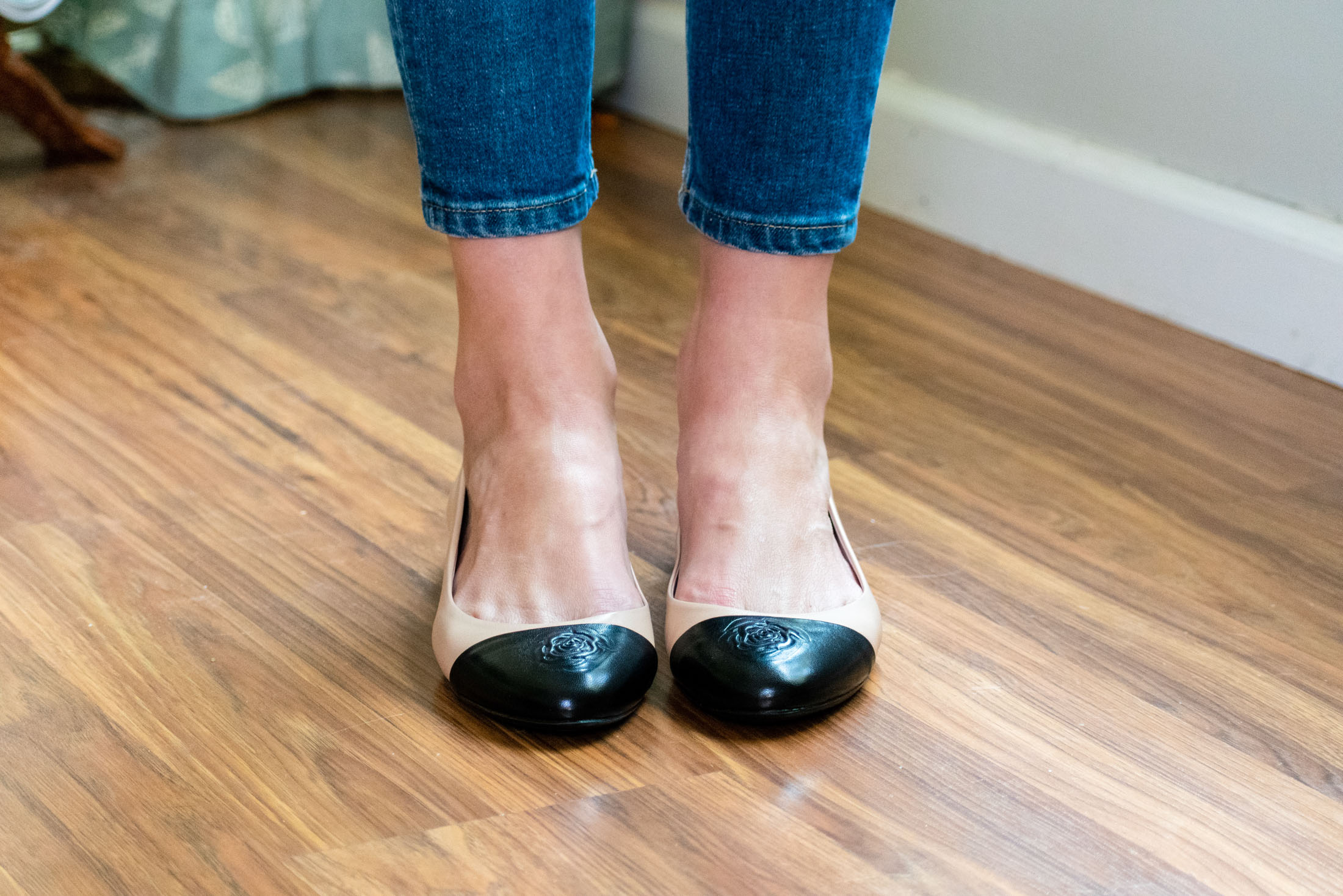 black and tan ballet flat