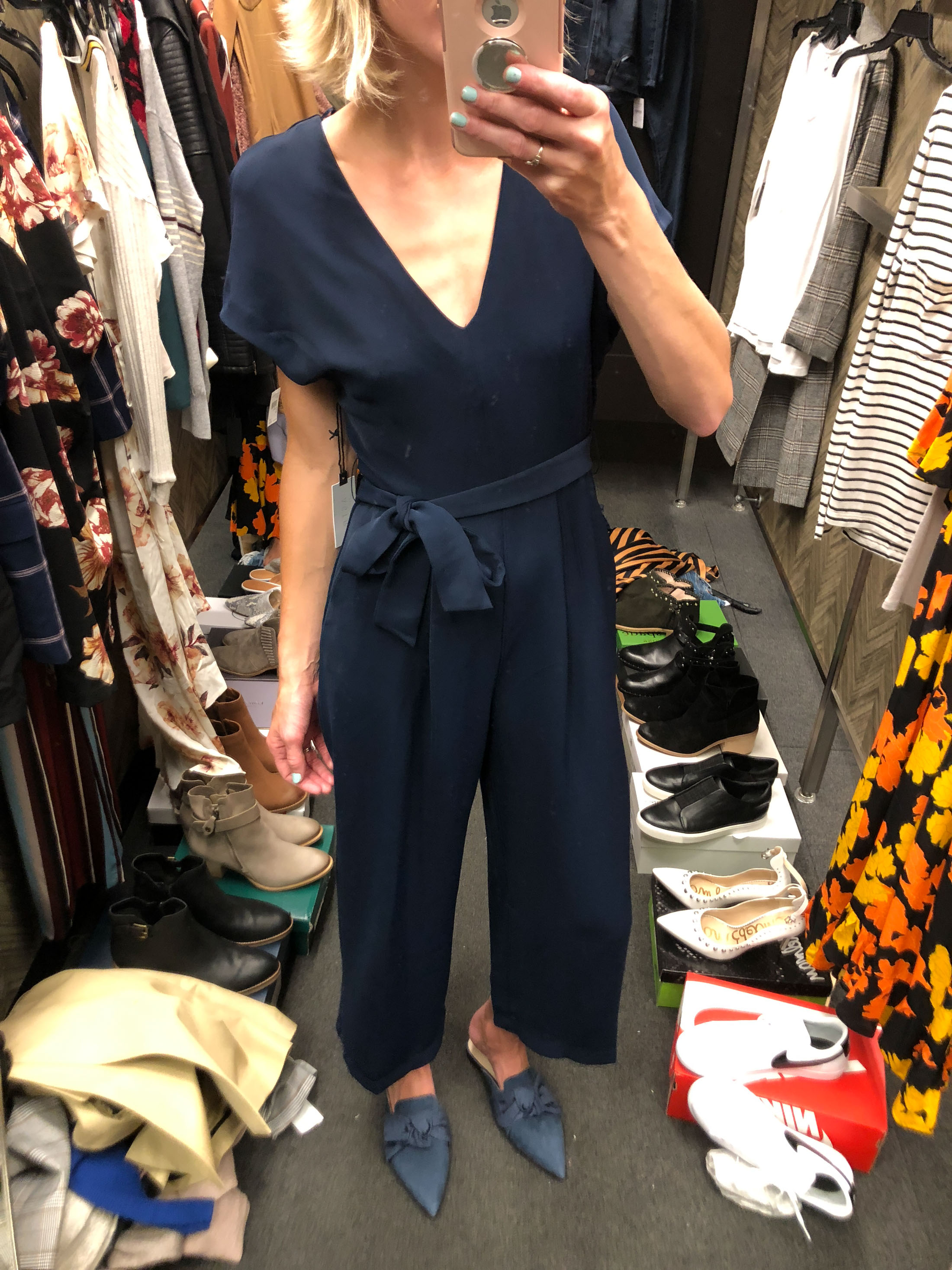 blue tie front jumpsuit romper and blue pointy mules