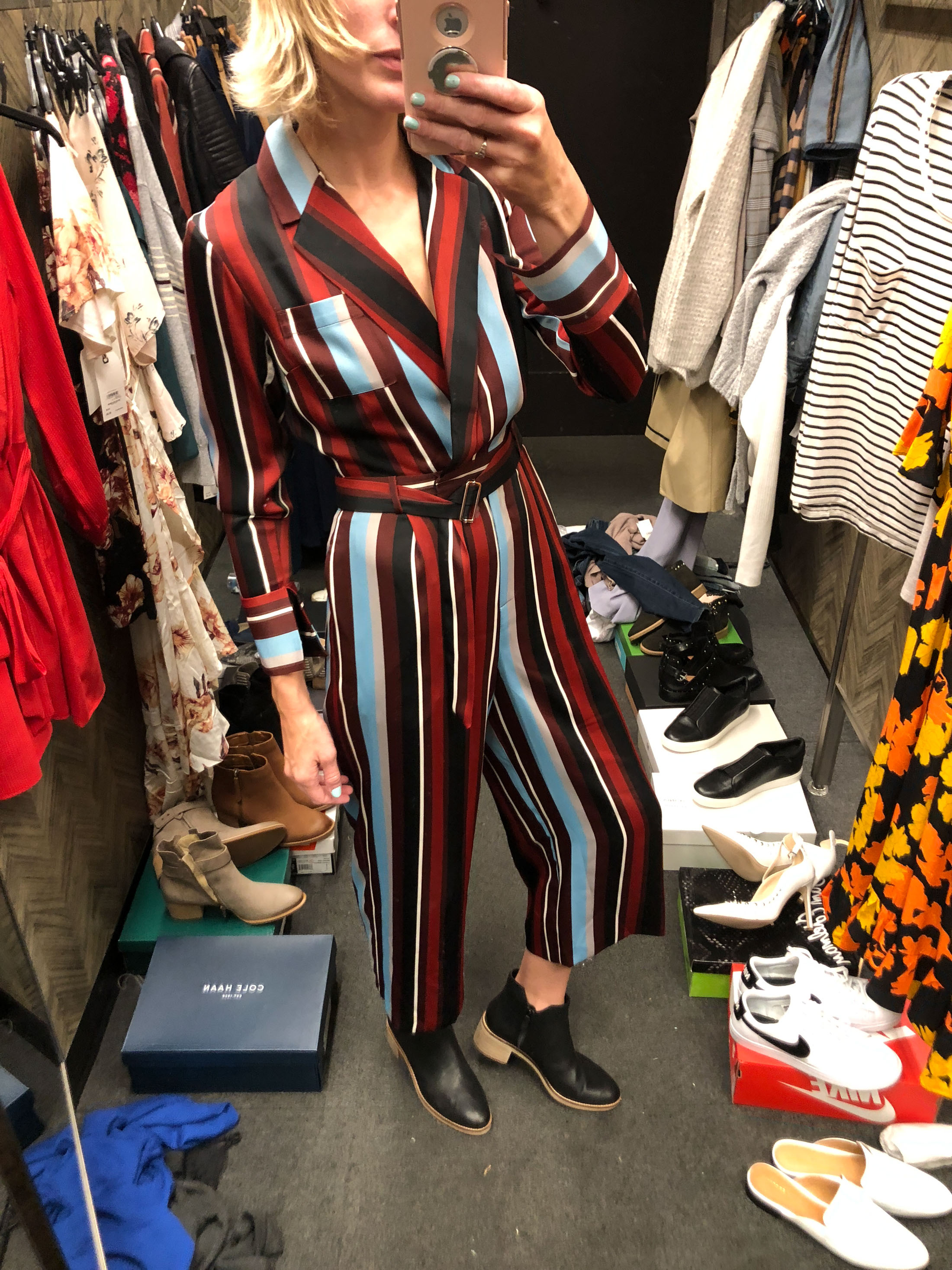 colorful striped suit style romper with booties
