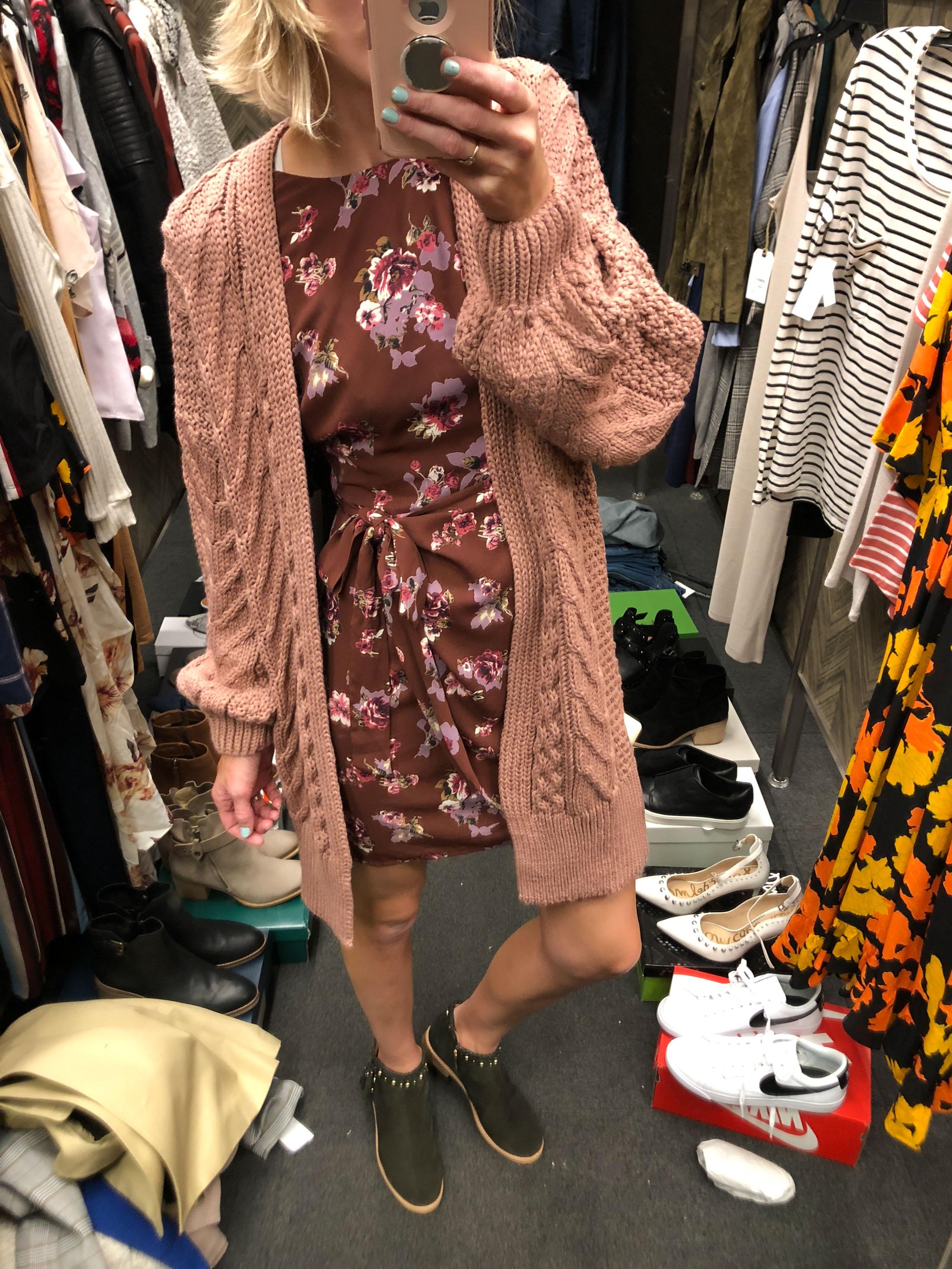 floral mini wrap dress kate spade booties long pink cardigan