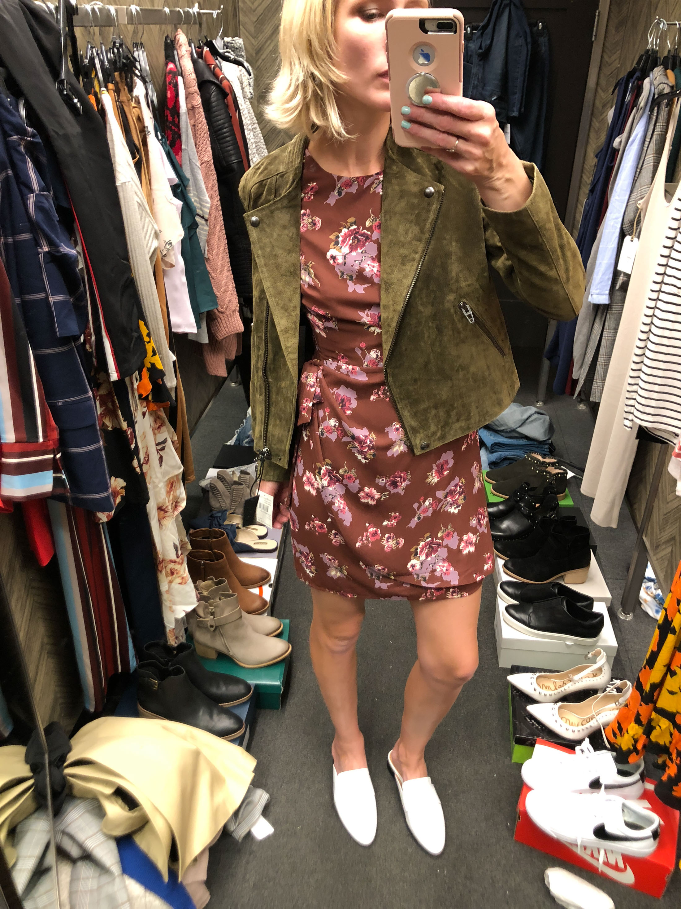 floral mini wrap dress olive green suede moto jacket white mules