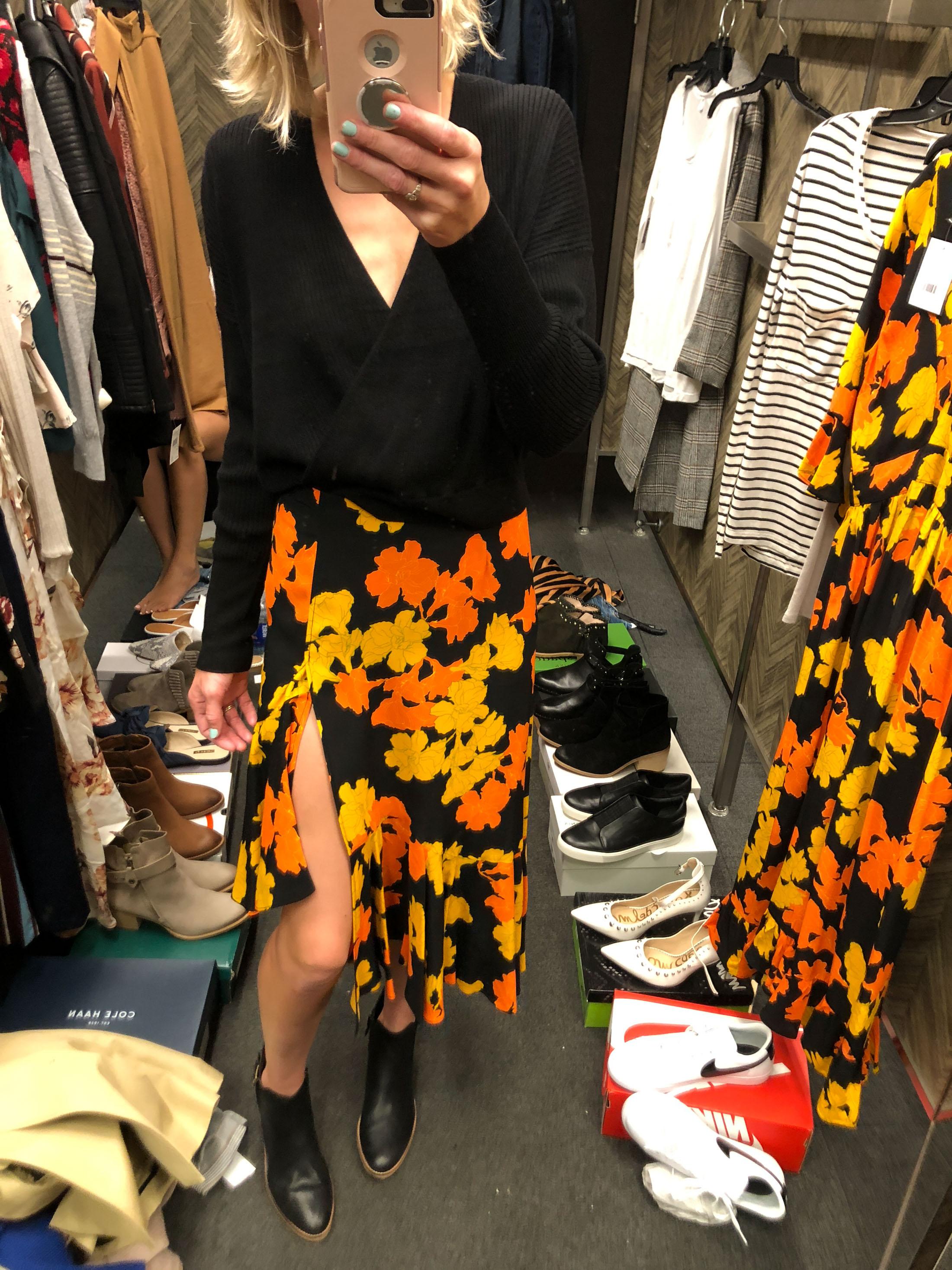 floral orange yellow and black slit skirt black booties_