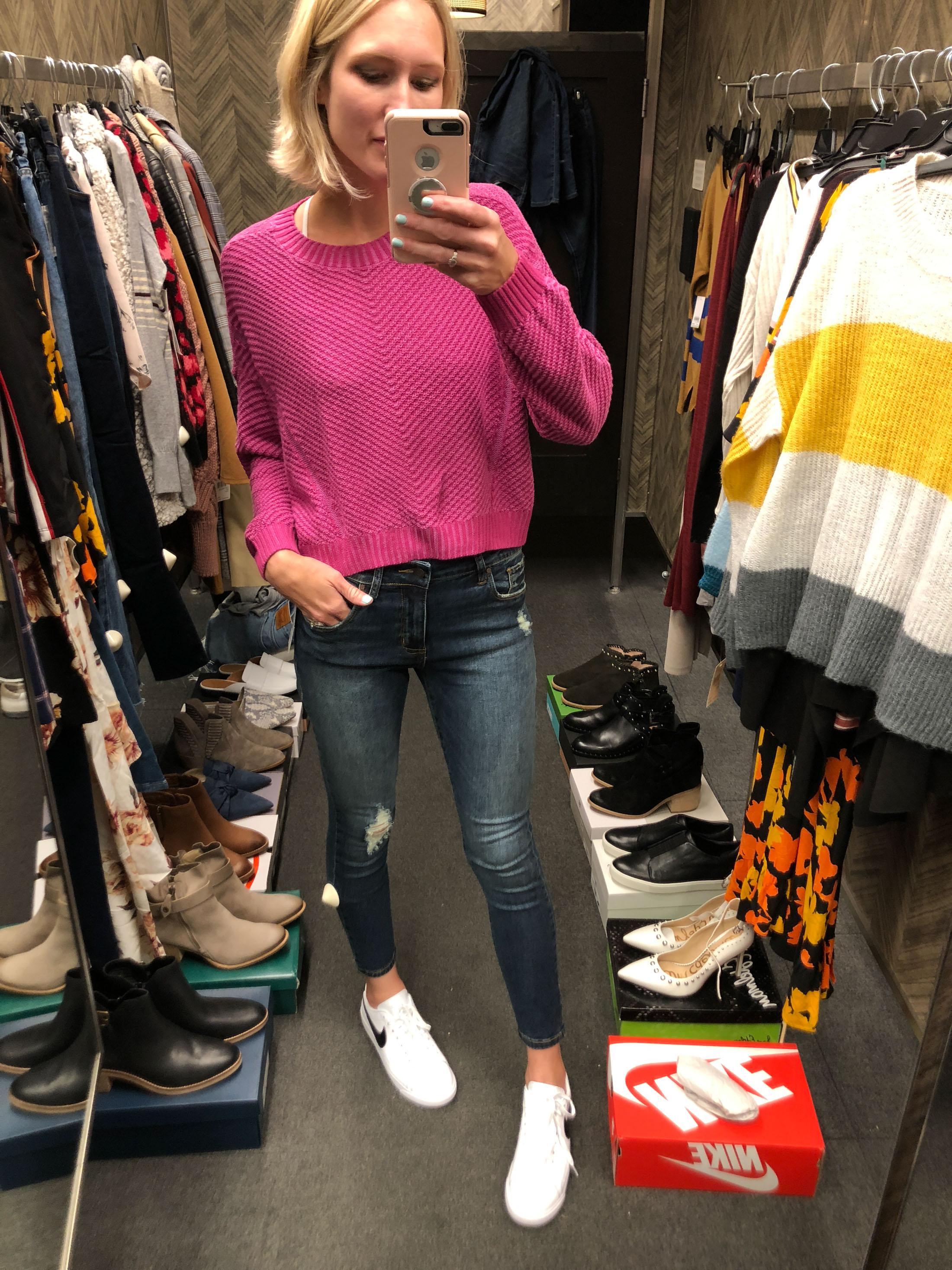 fuschia bright sweater for fall_