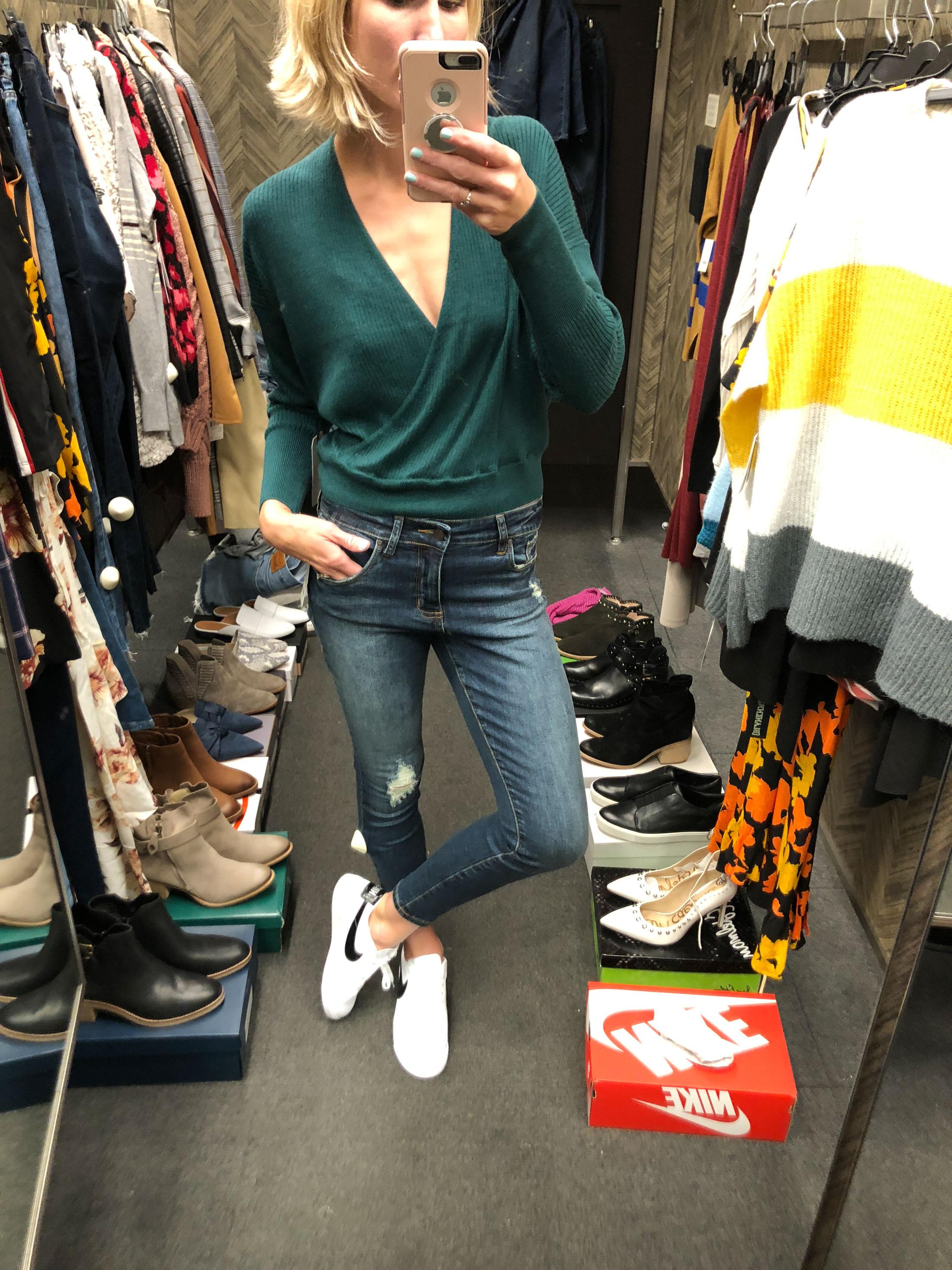 green wrap sweater top fall 2018