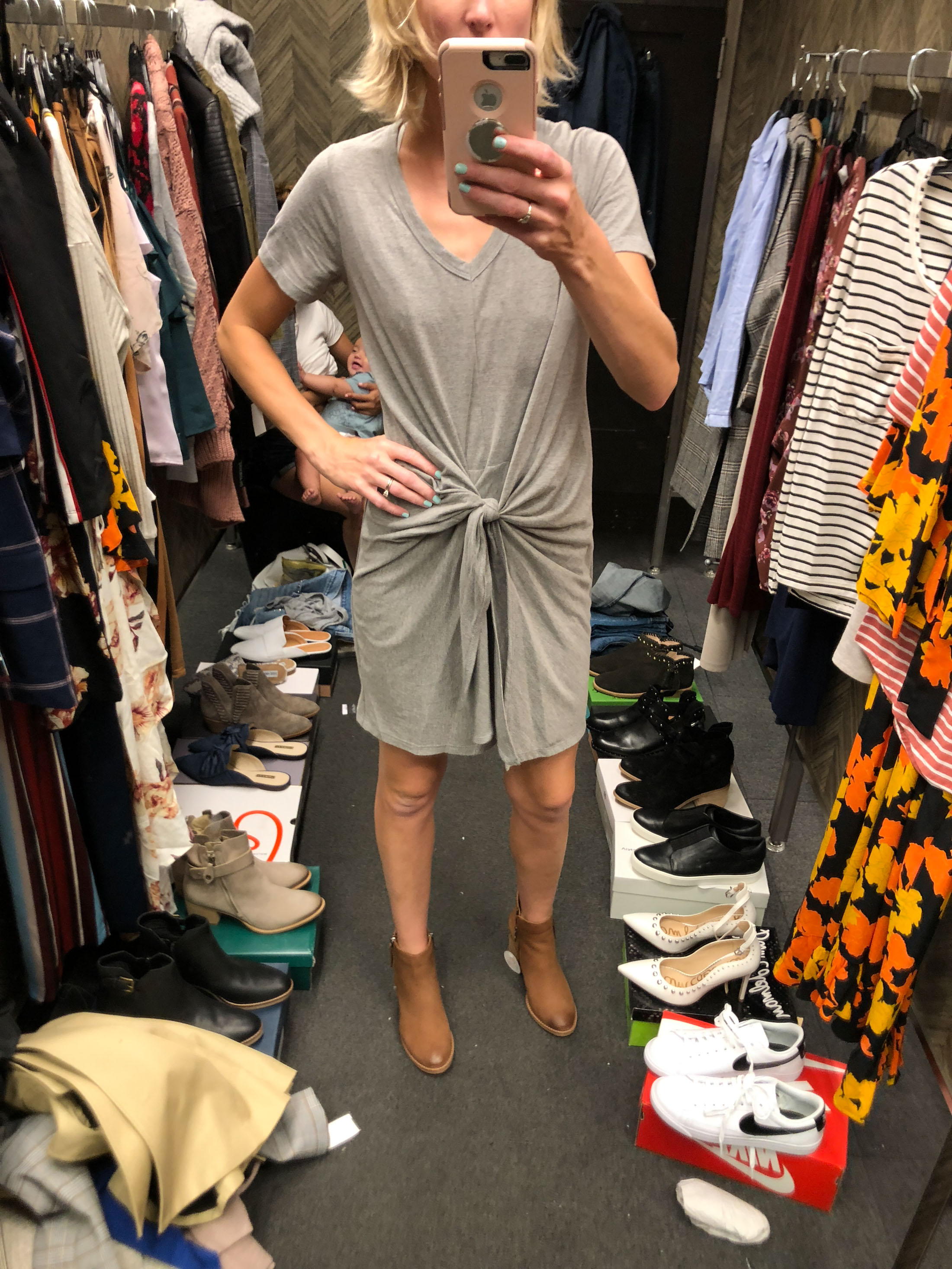 knot front tee dress