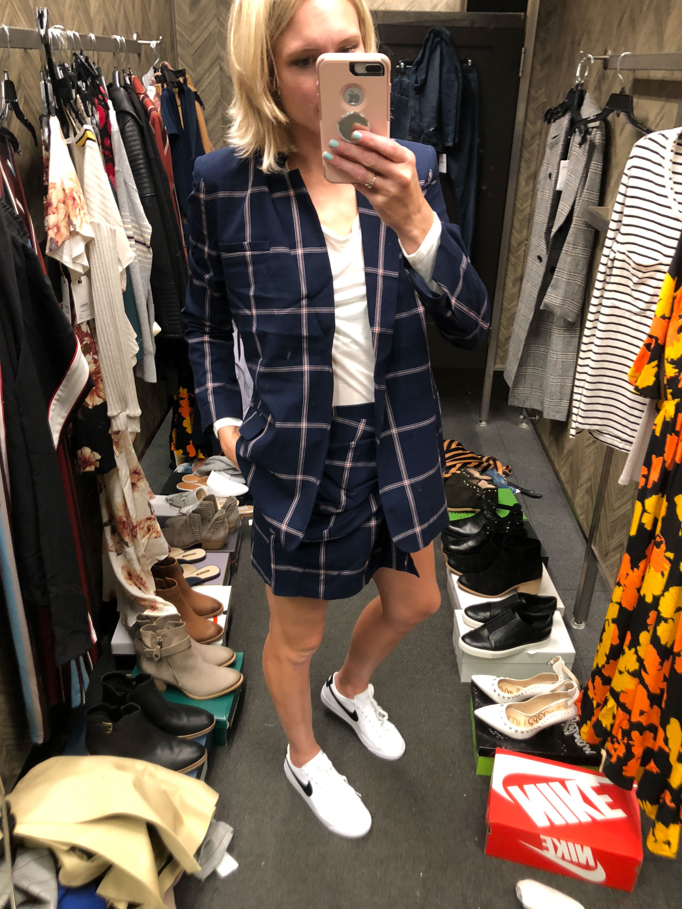 plaid blue matching set and white sneakers