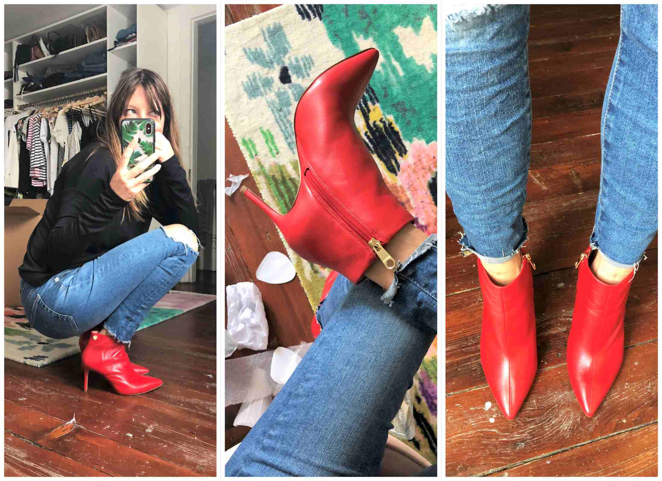 jeans et chaussure rouge