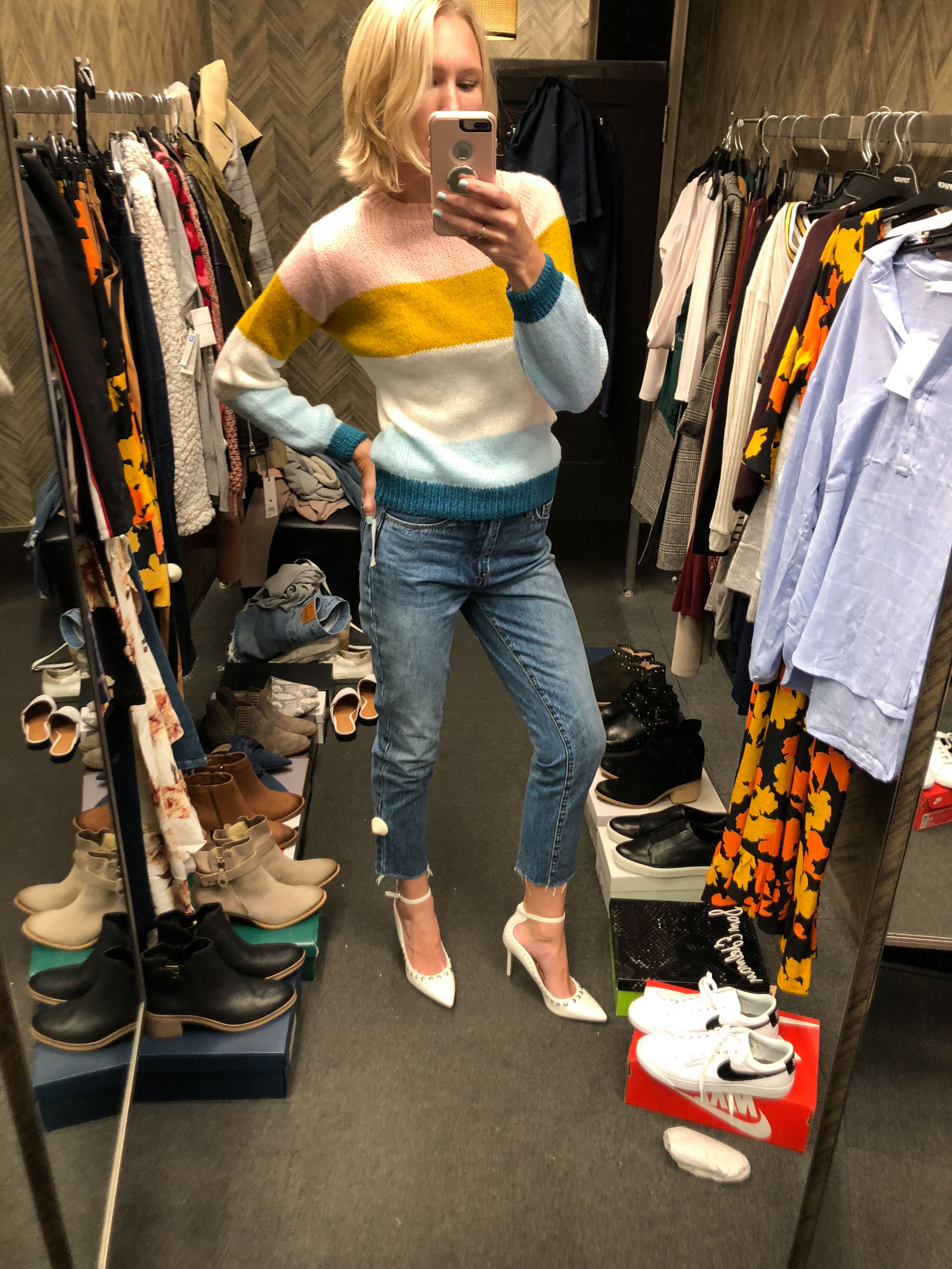 striped topshop sweater blanknyc jeans white pumps