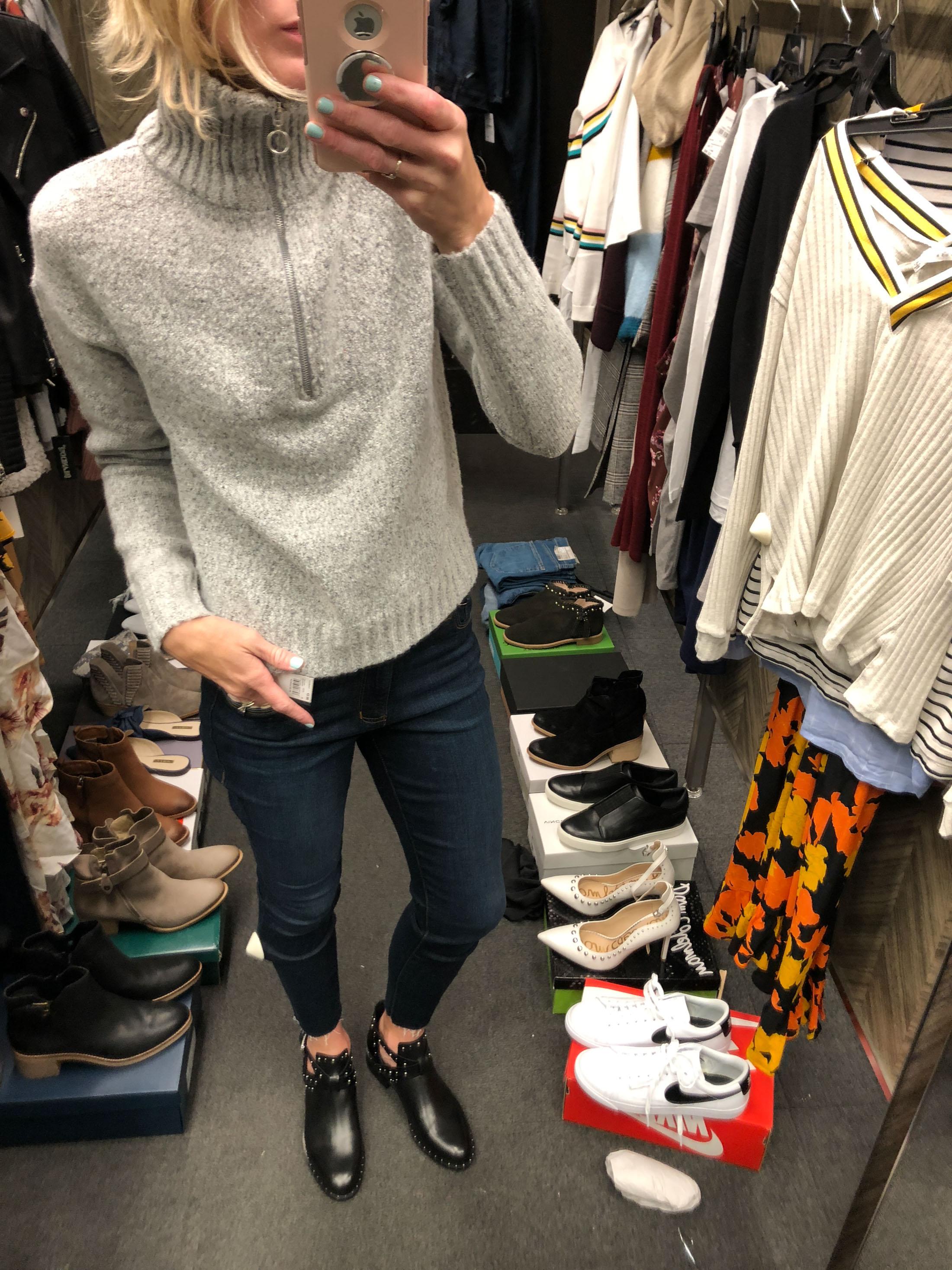 zip up turtleneck sweater_