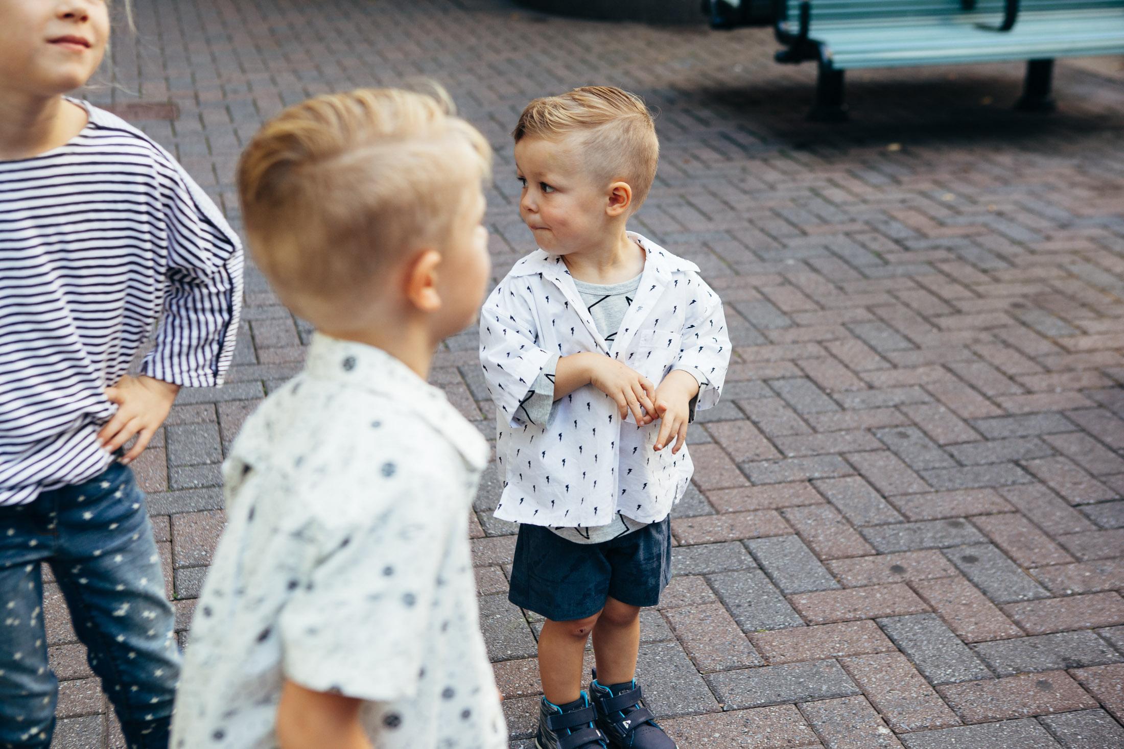 black white blue color palette kids outfits