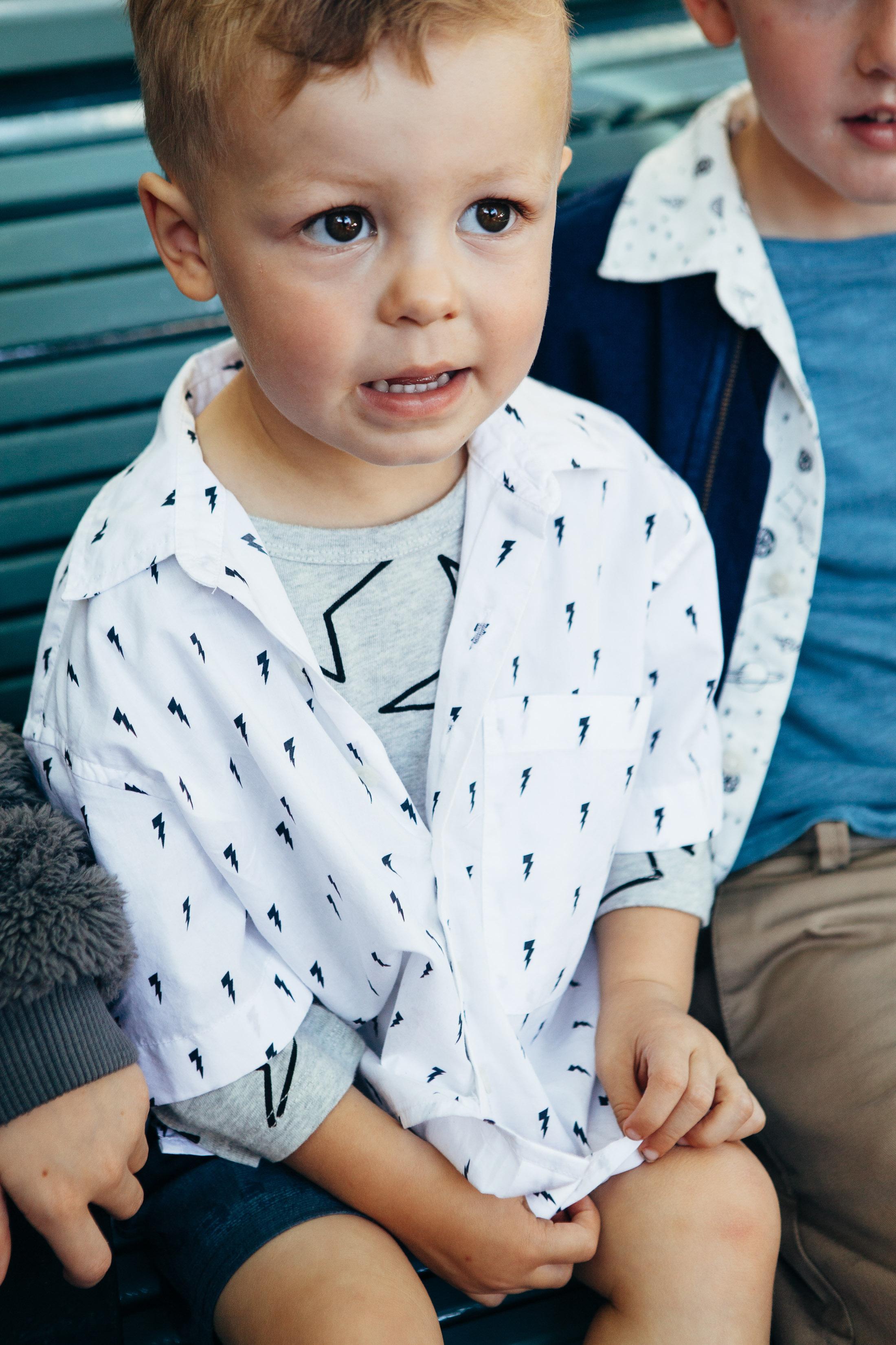 lightning bolt button up little boy