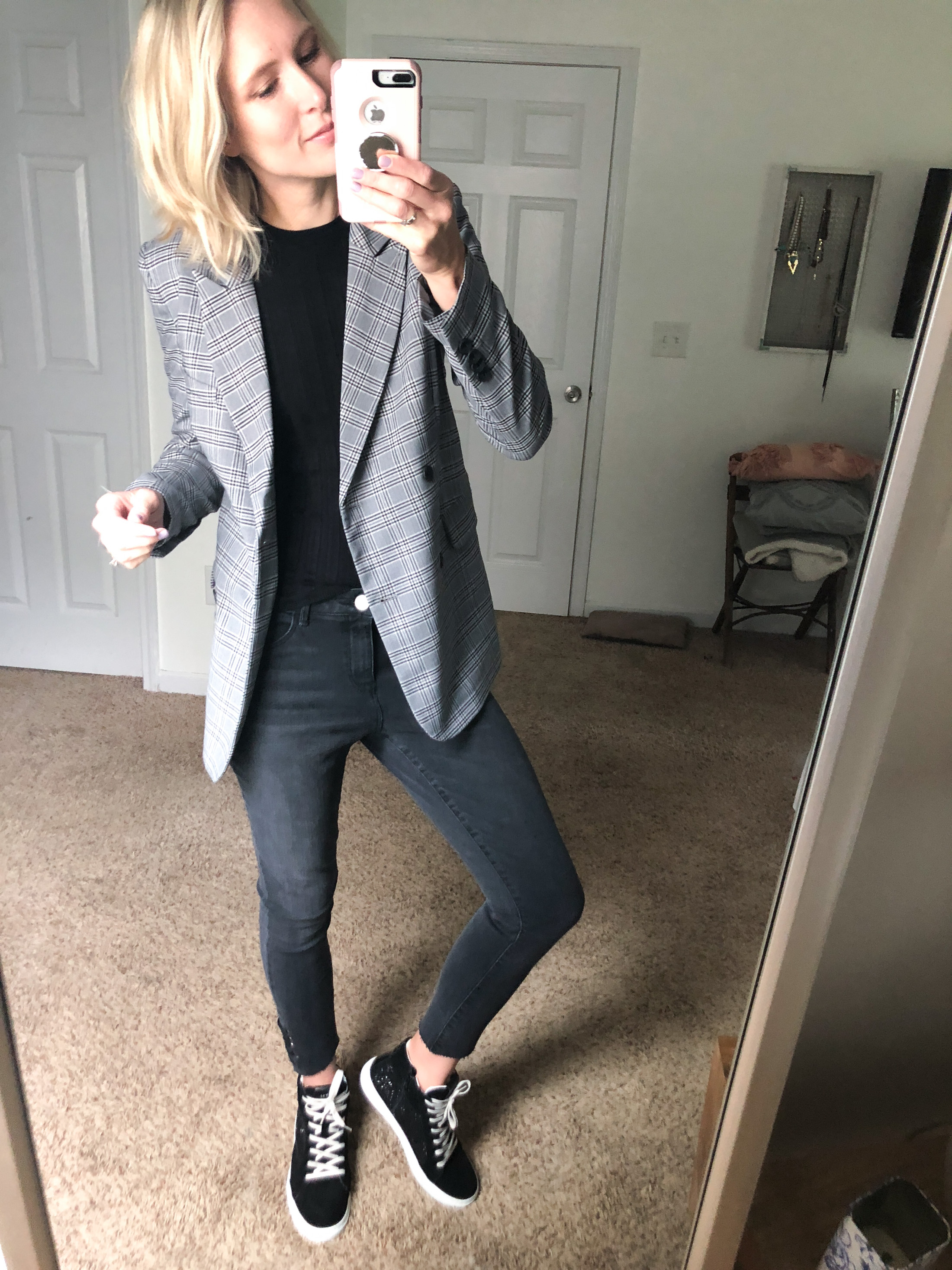 plaid blazer charcoal grey jeans high tops