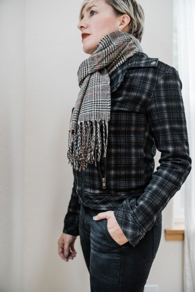 We're trying Liverpool jeans & they look good allover —especially the back. Check out the Fall outfit Laura put together —mixing plaids looks so good.
