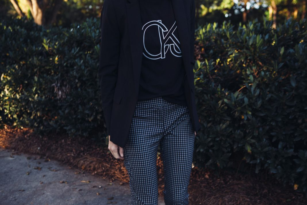 black graphic tee plaid pants with blazer