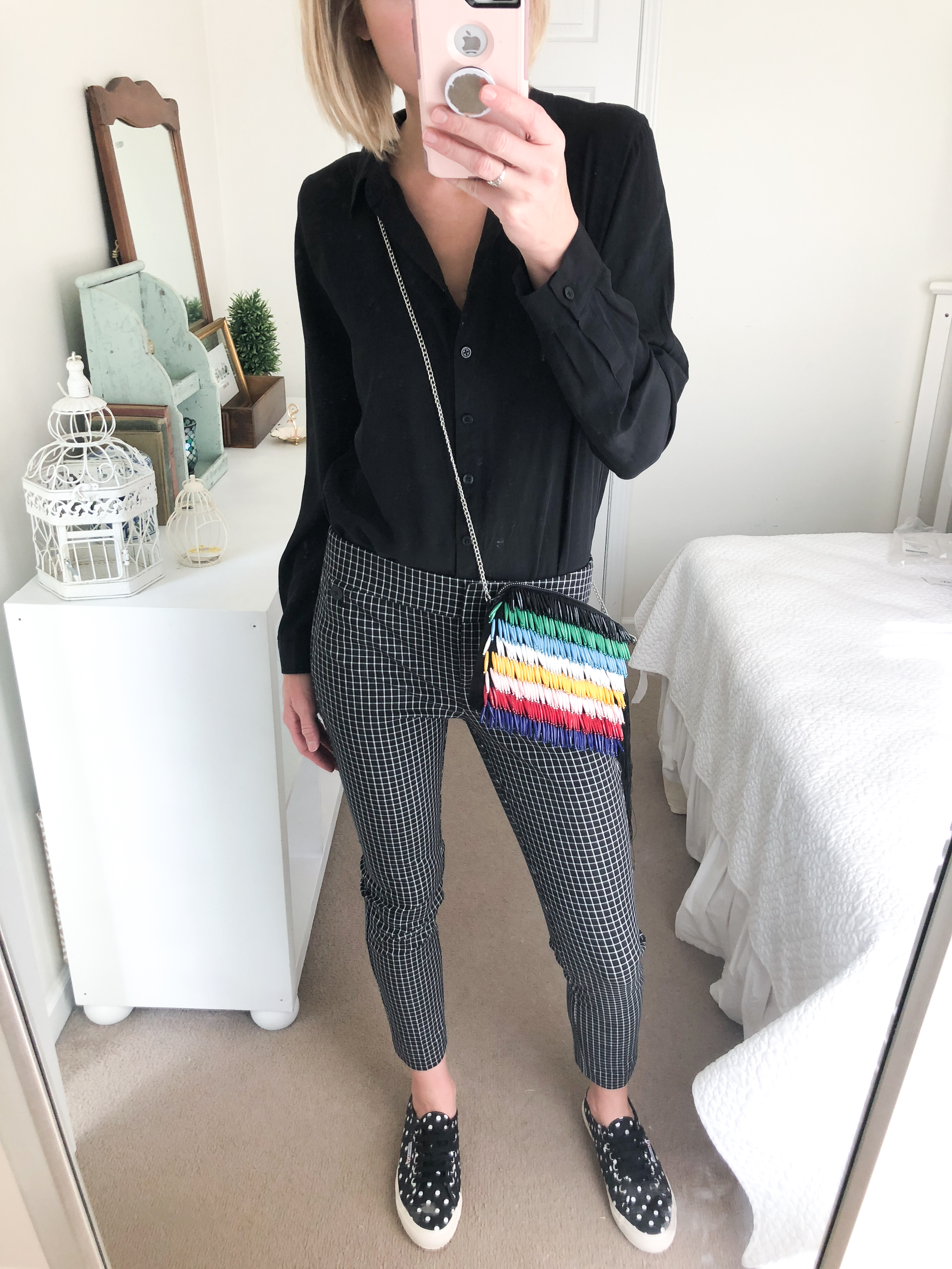 black plaid cropped pants with polka dot sneakers