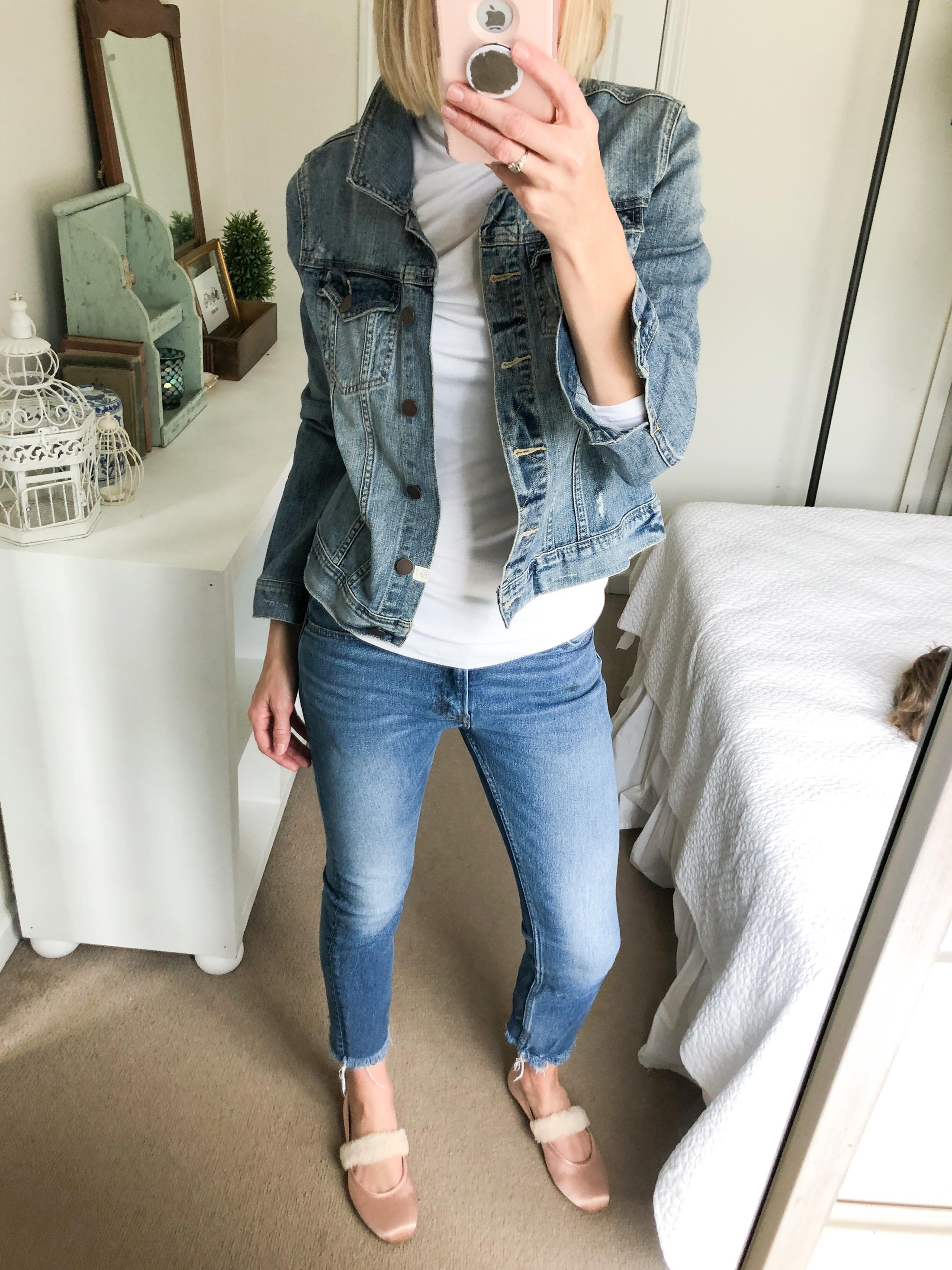 denim jacket cropped jeans white turtleneck ballet flats